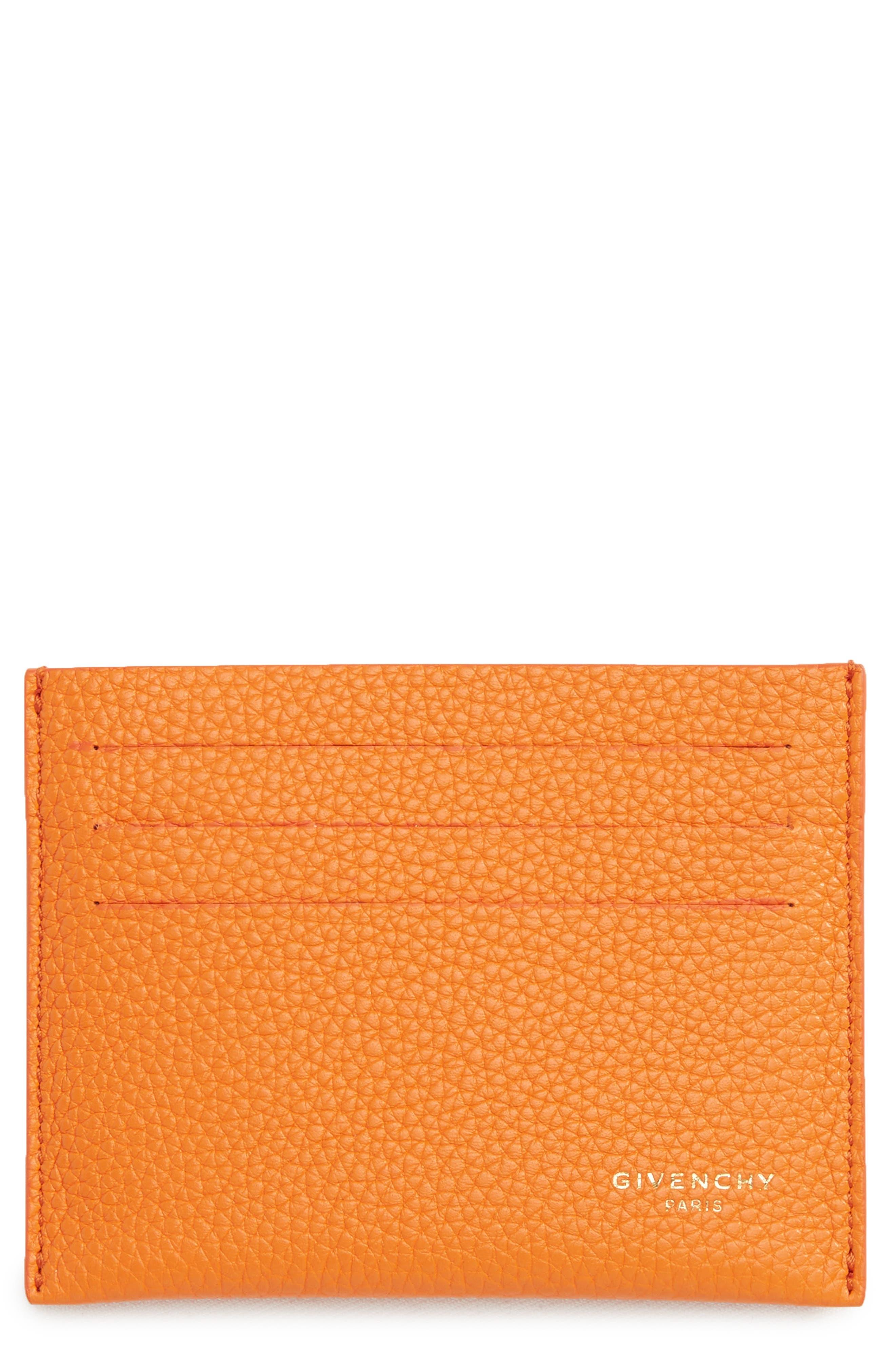 Leather Card Case,                         Main,                         color, Orange