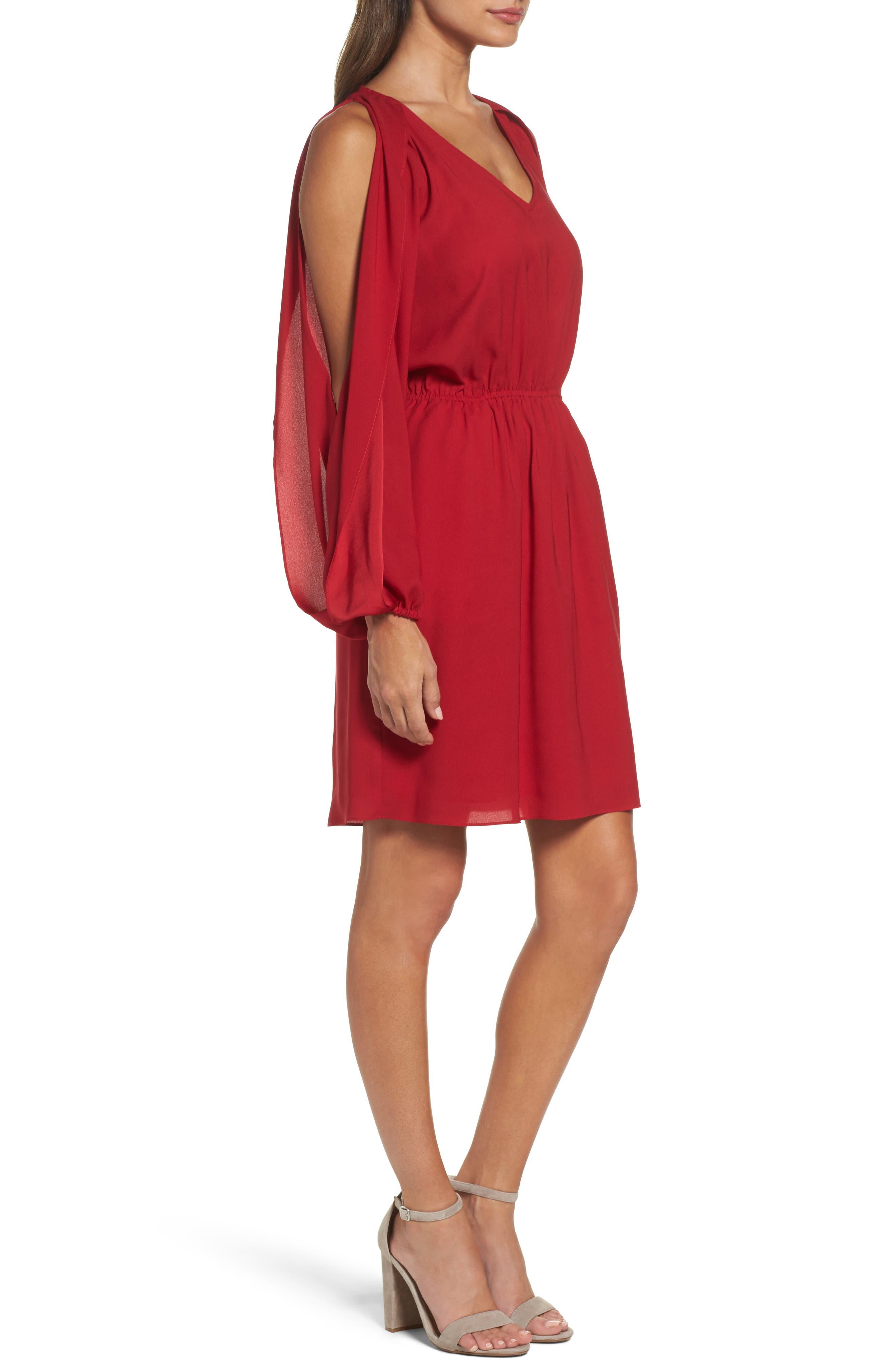 Cold Shoulder Dress,                             Alternate thumbnail 3, color,                             Cherry
