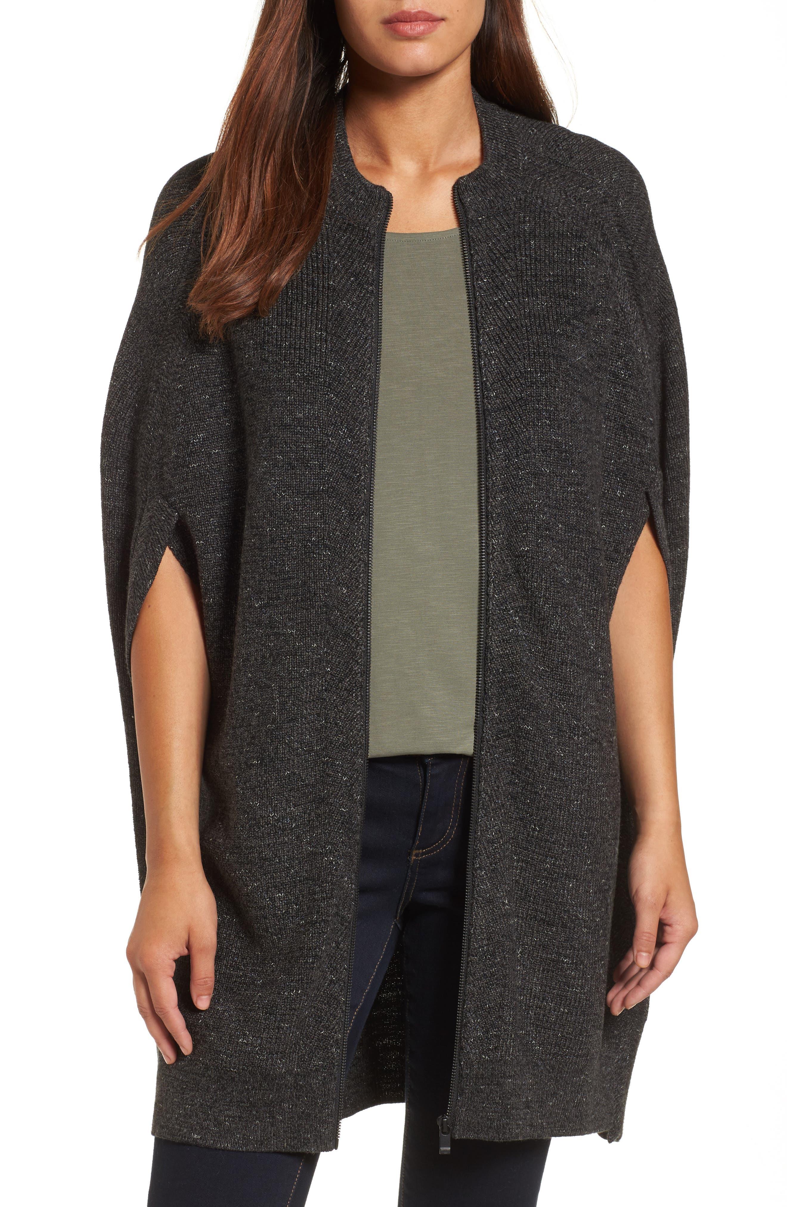 NIC + ZOE Blanket Cape,                         Main,                         color, Black Onyx