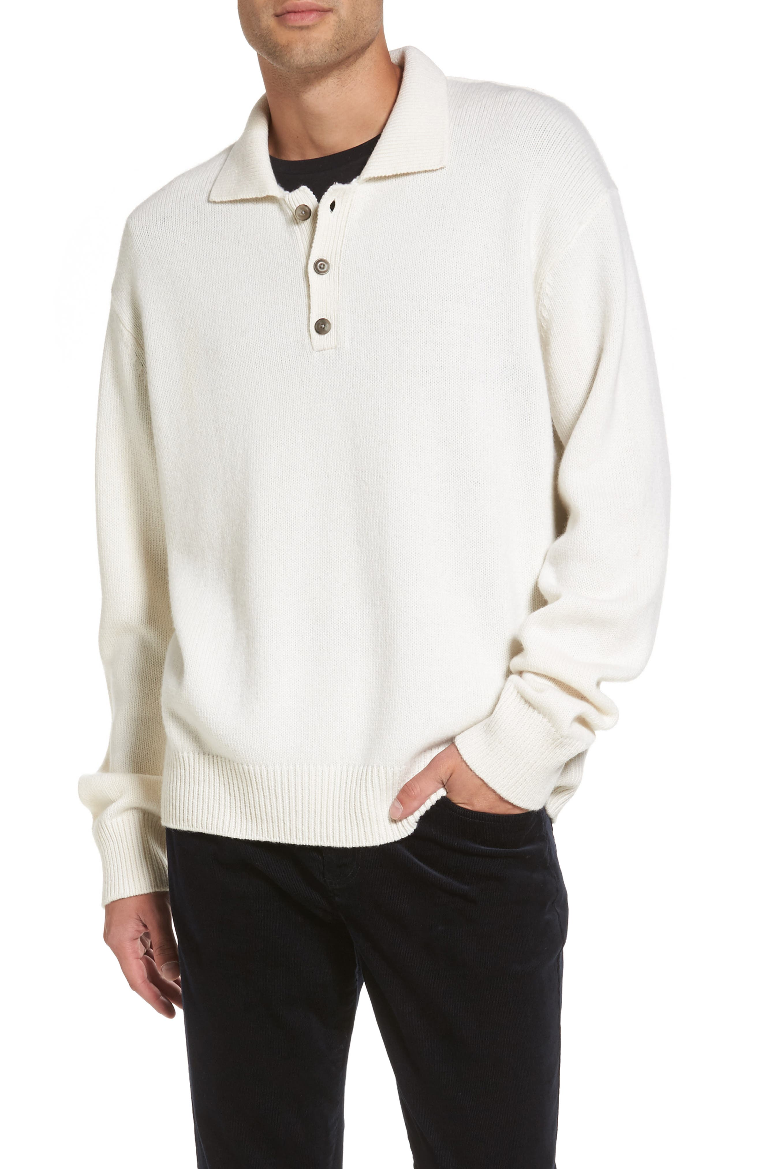 Wool & Cashmere Polo Sweater,                         Main,                         color, Breeze