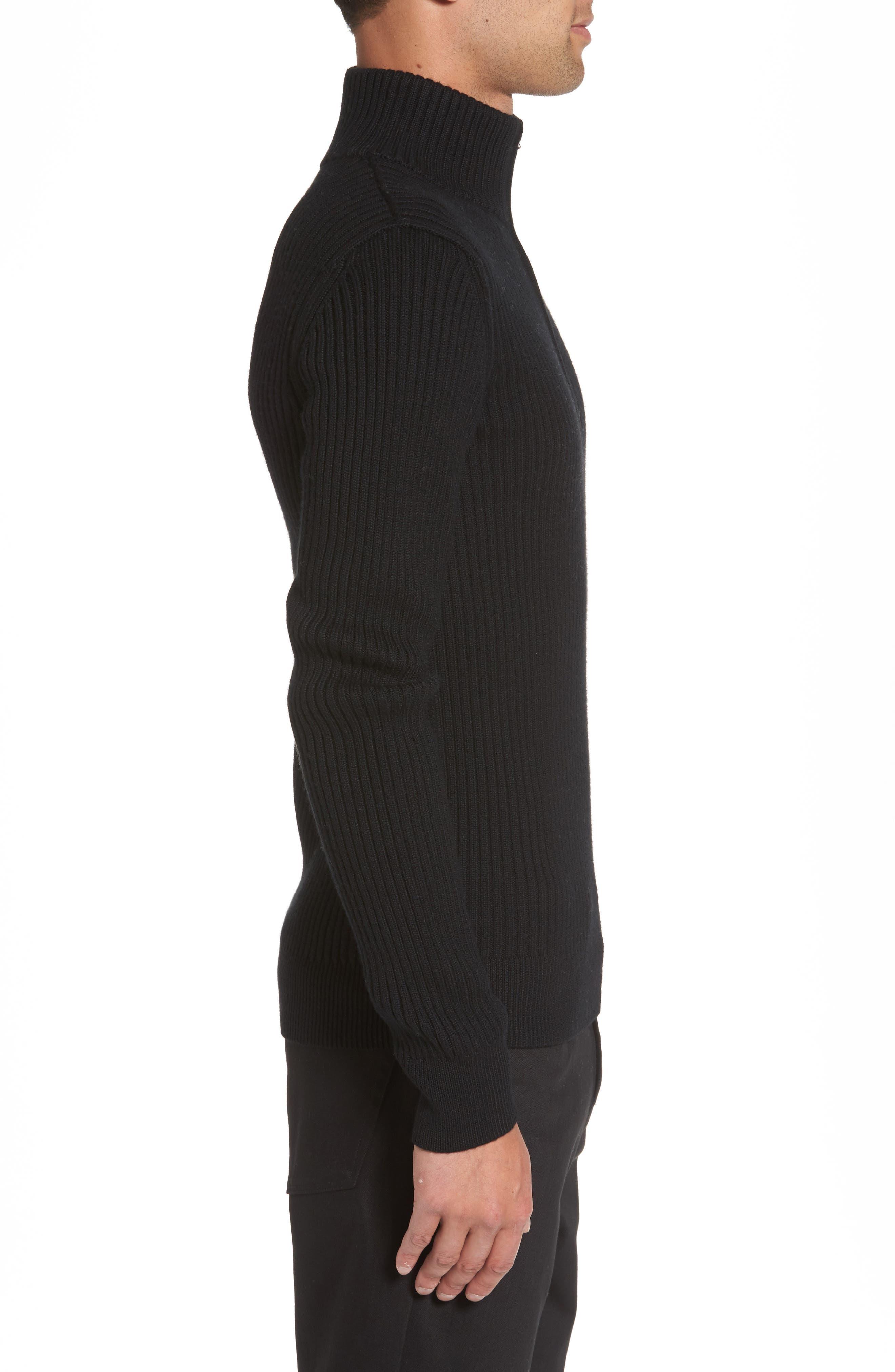 Ribbed Quarter Zip Mock Neck Sweater,                             Alternate thumbnail 3, color,                             Black