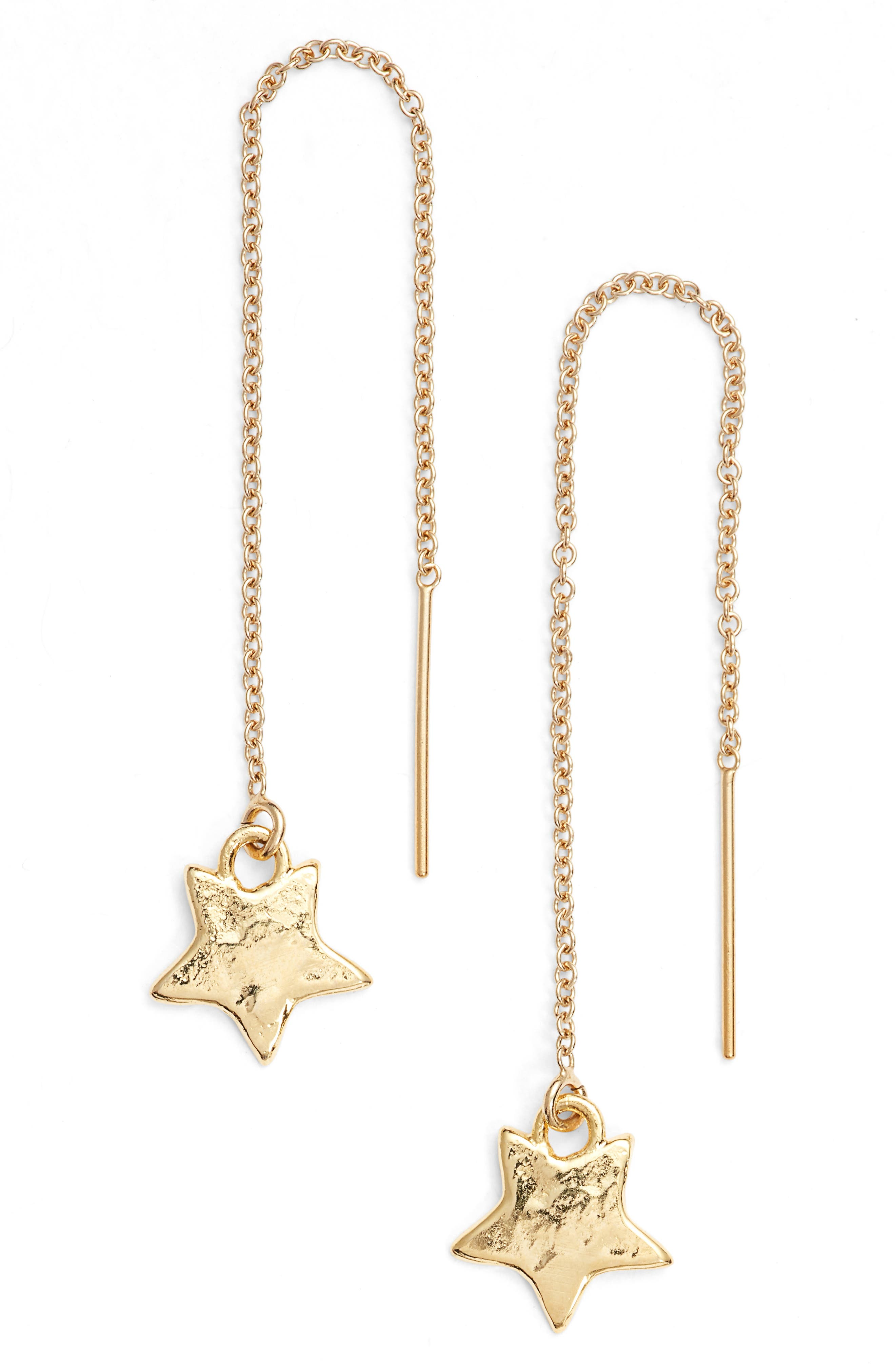 Star Drop Earrings,                         Main,                         color, Gold