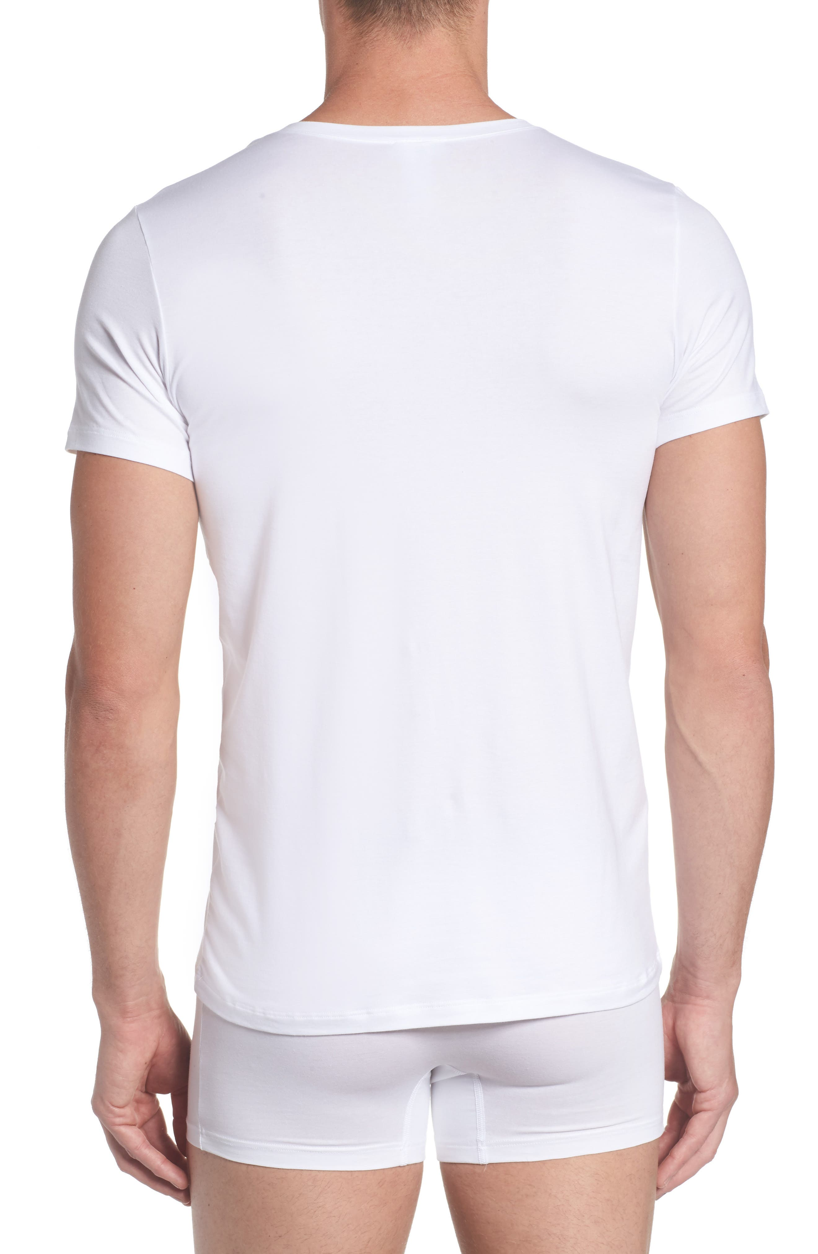 Cotton Superior V-Neck T-Shirt,                             Alternate thumbnail 2, color,                             White