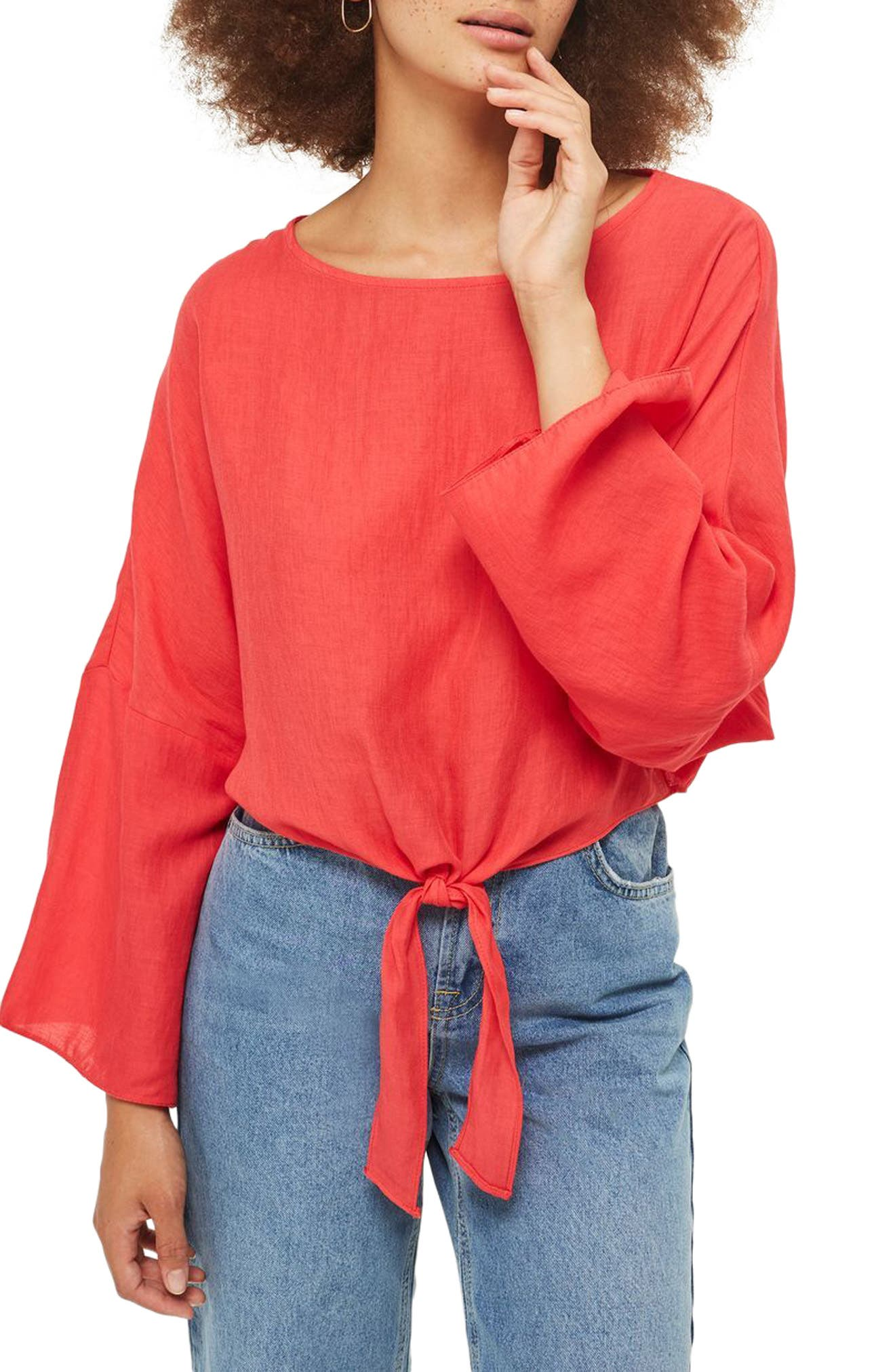 Knot Front Top,                             Main thumbnail 1, color,                             Red