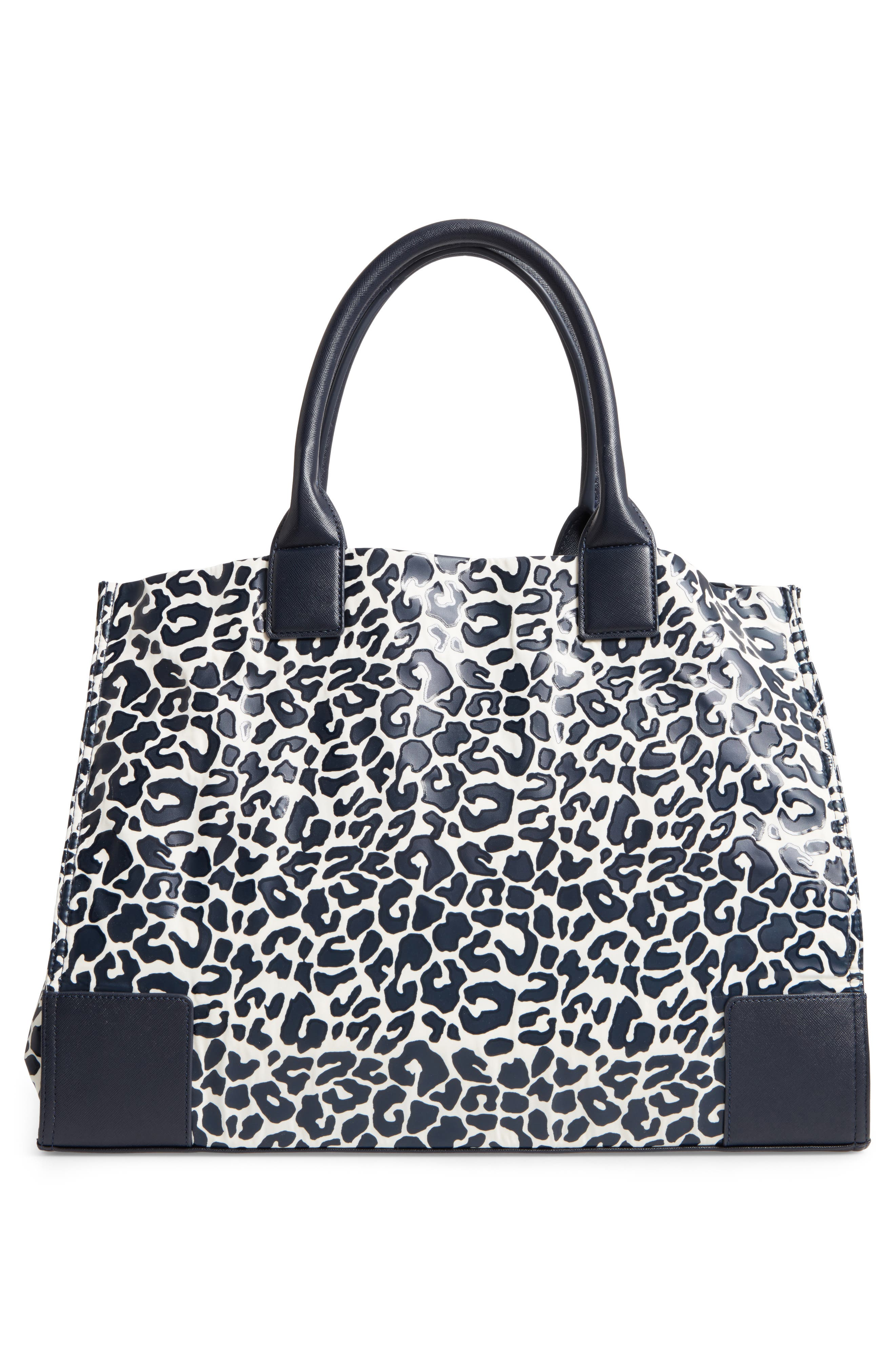 Ella Print Coated Nylon Tote,                             Alternate thumbnail 3, color,                             Tory Navy Clouded Leopard