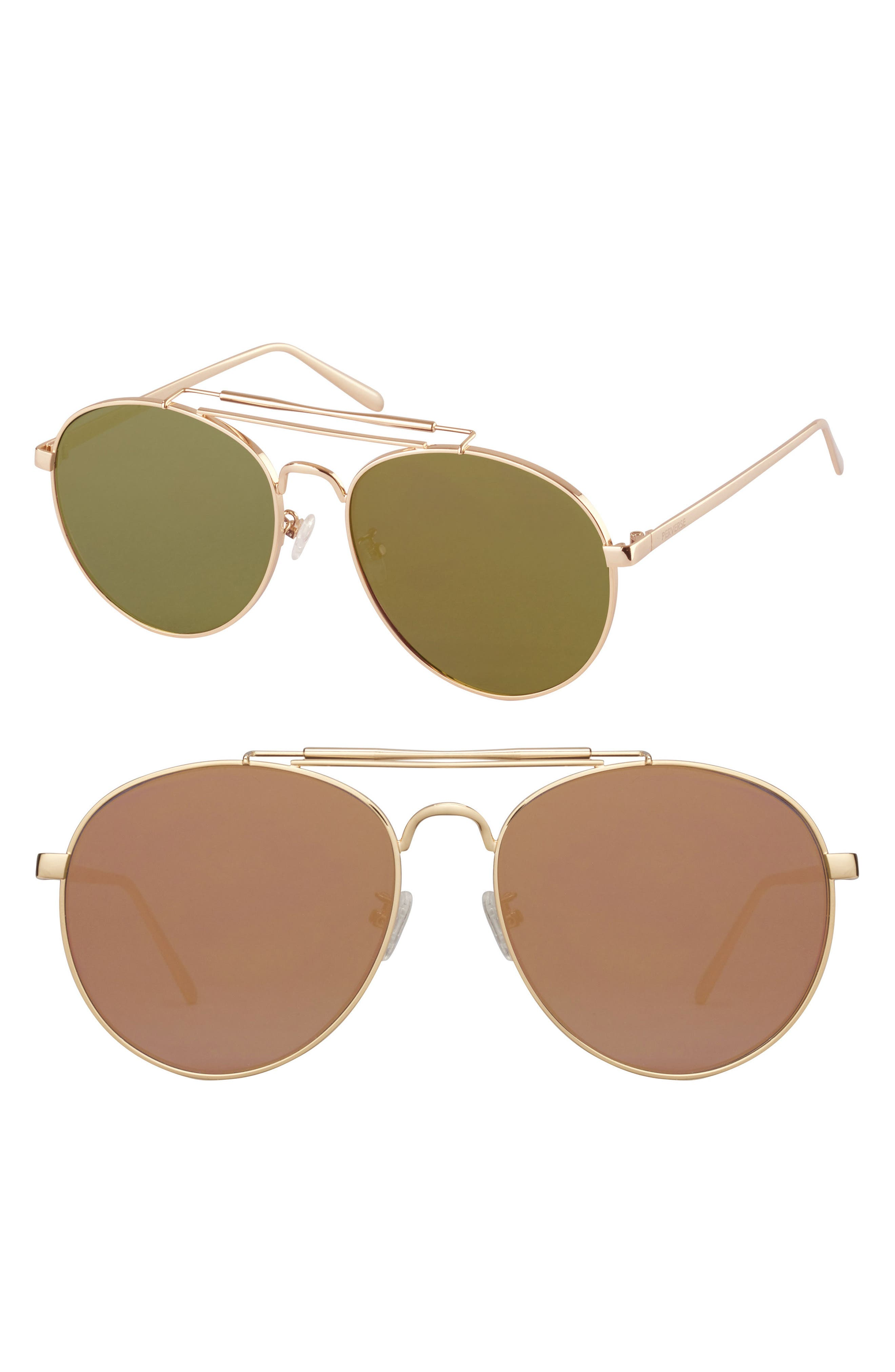 58mm Aviator Sunglasses,                         Main,                         color, Gold