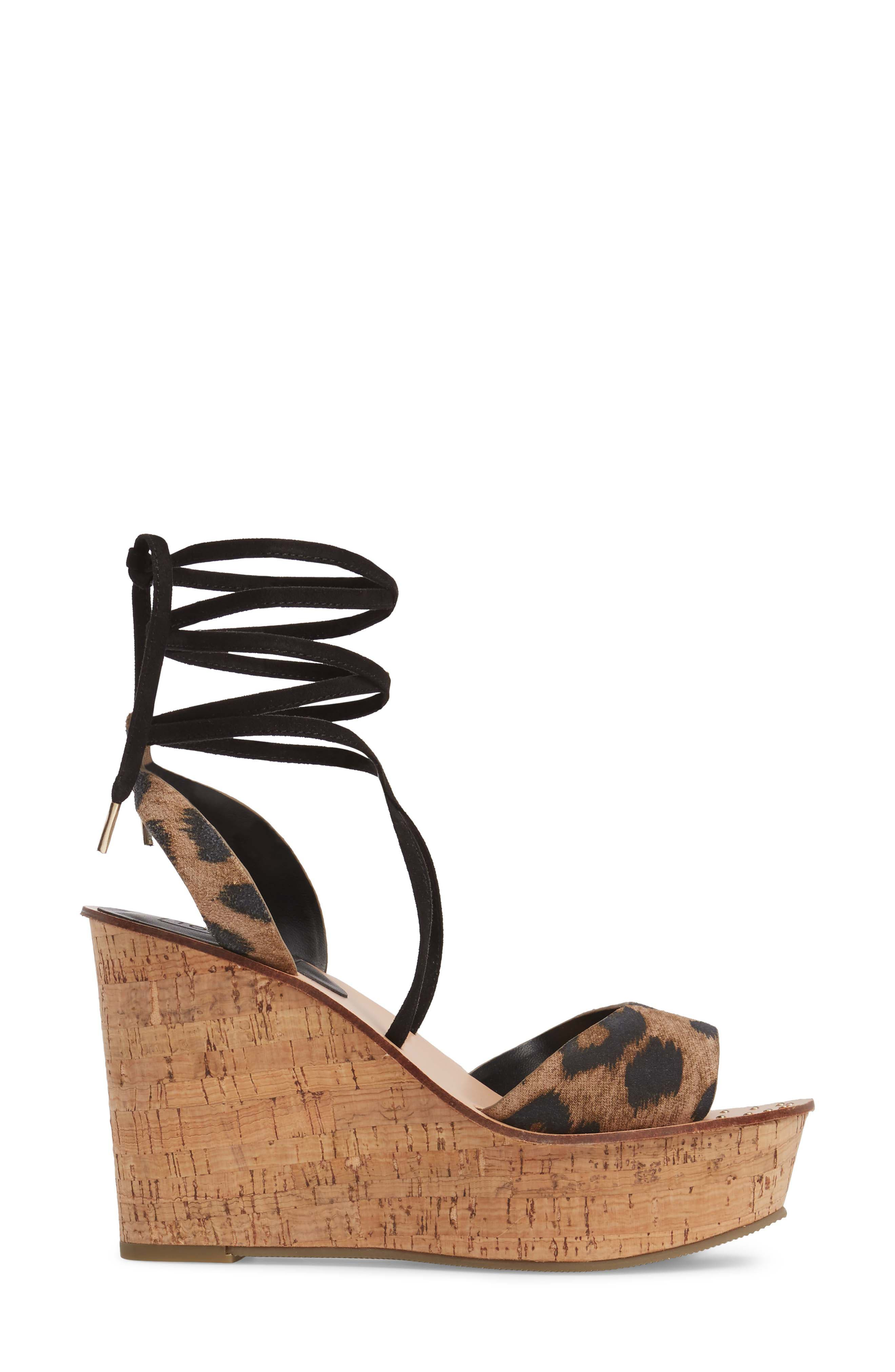 Platform Wedge Sandal,                             Alternate thumbnail 3, color,                             Leopard