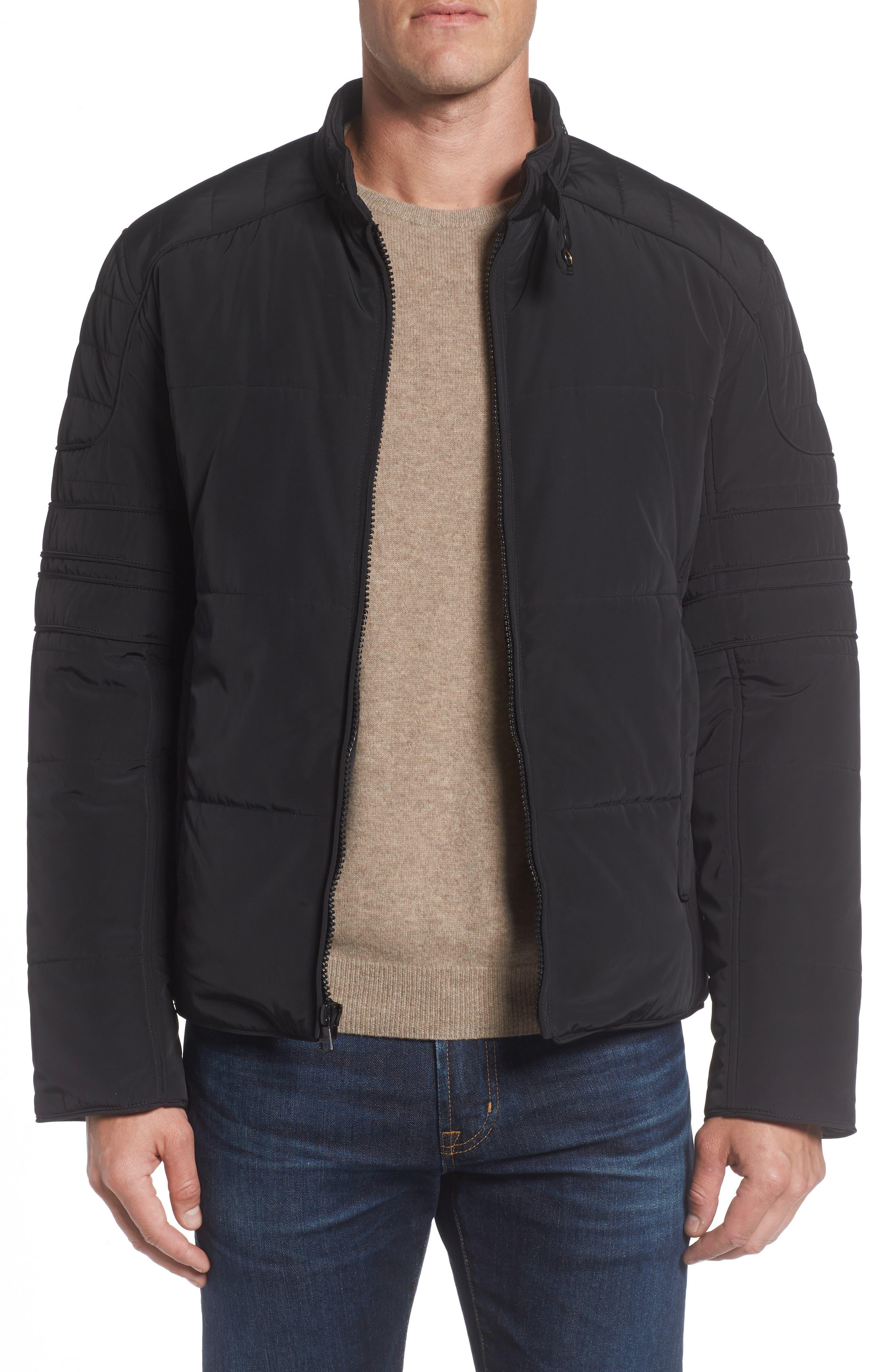 Quilted Moto Jacket,                             Main thumbnail 1, color,                             Black