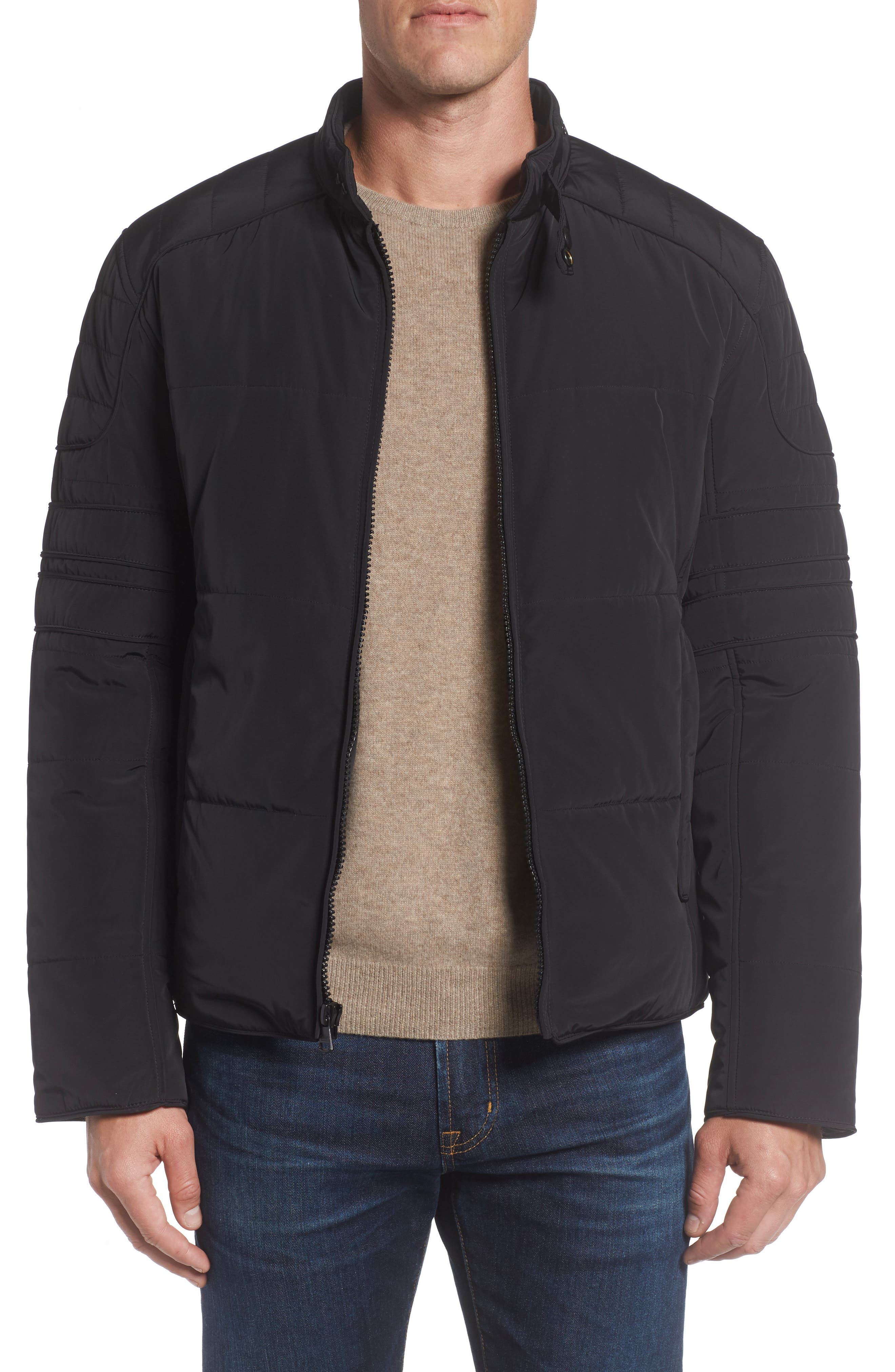 Quilted Moto Jacket,                         Main,                         color, Black