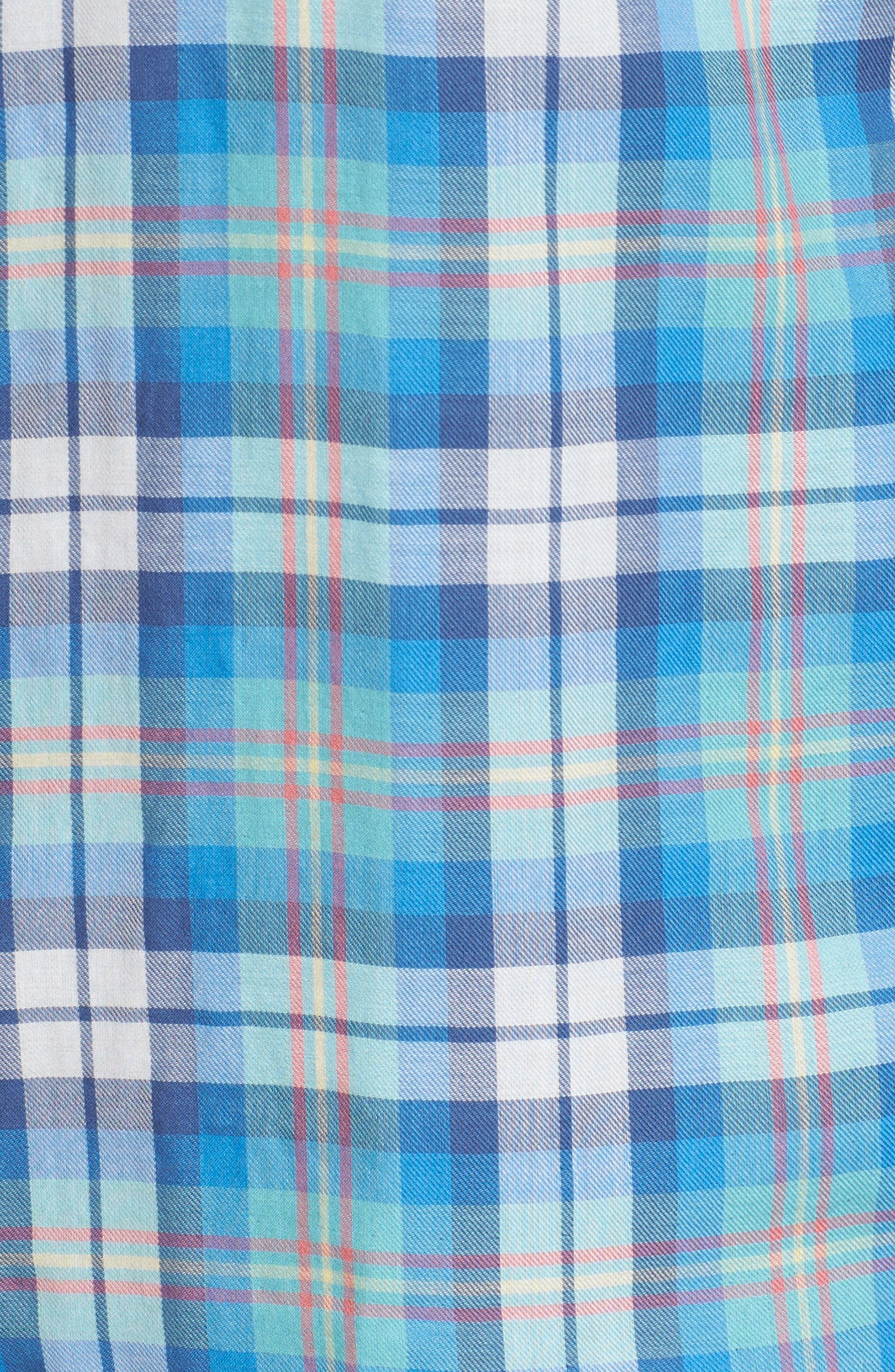 East Marsh Plaid Tucker Slim Fit Sport Shirt,                             Alternate thumbnail 5, color,                             Hull Blue