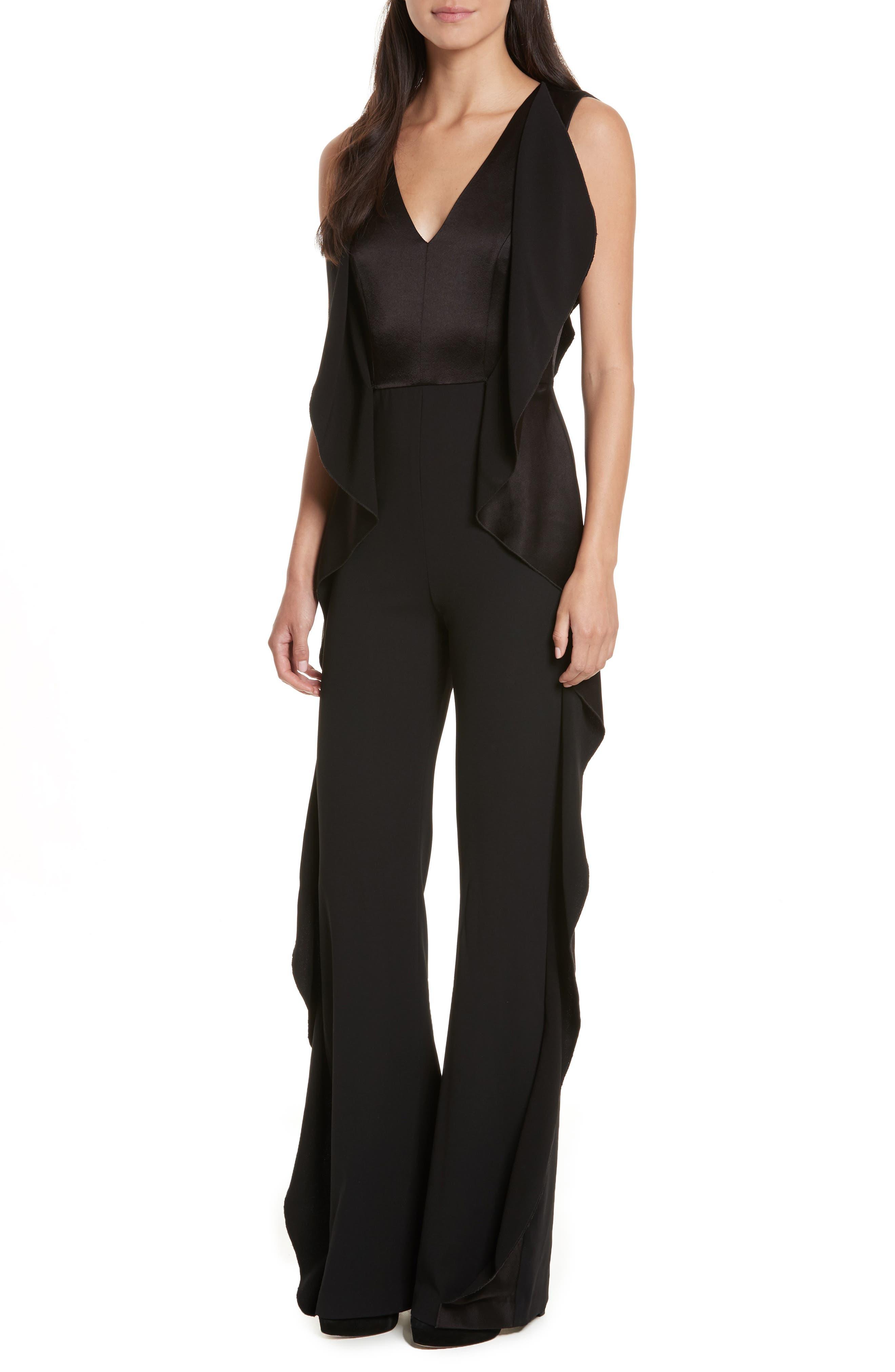 Side Ruffle Jumpsuit,                         Main,                         color, Black