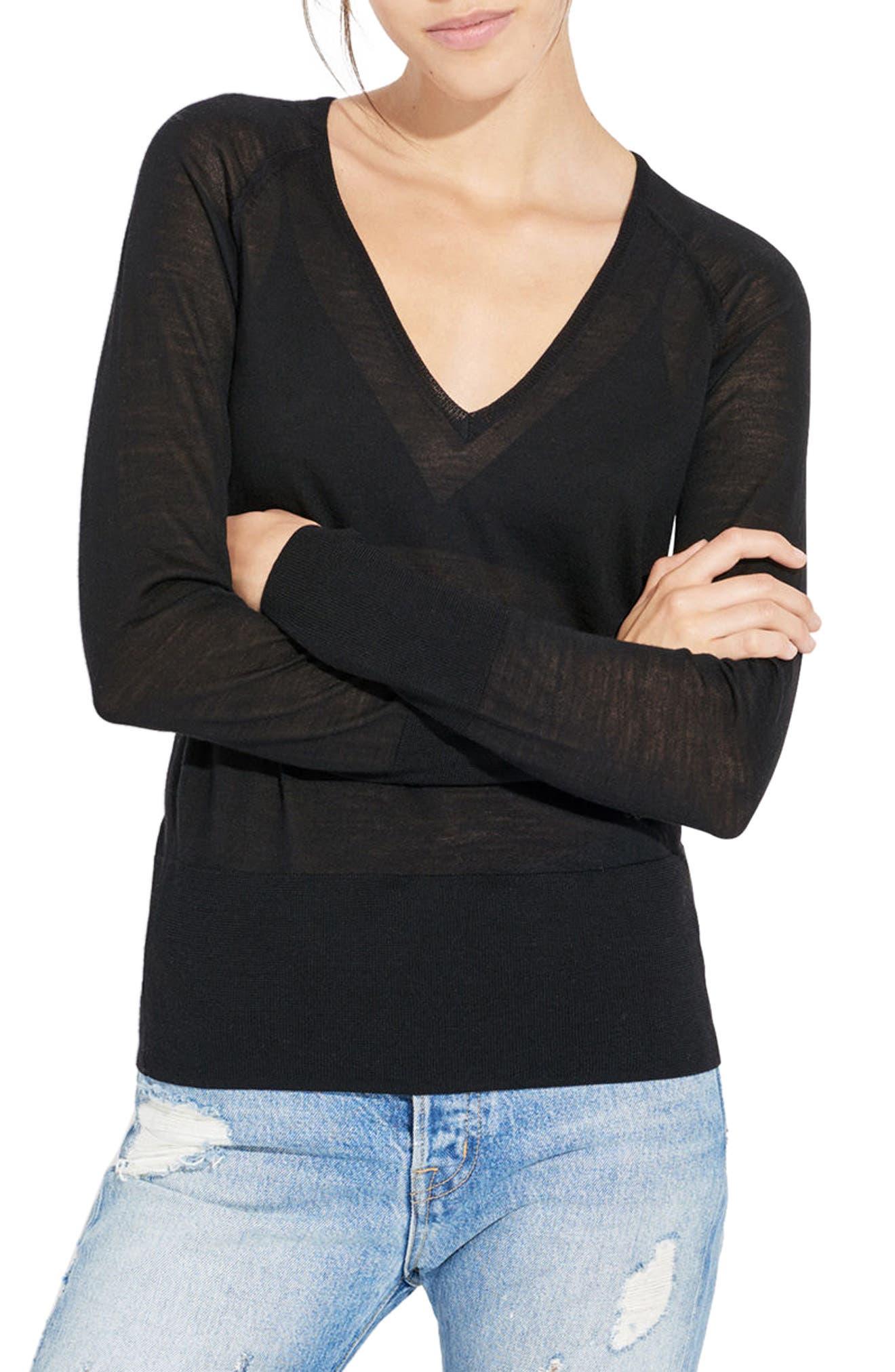 The Slice Merino Wool Sweater,                         Main,                         color, Black