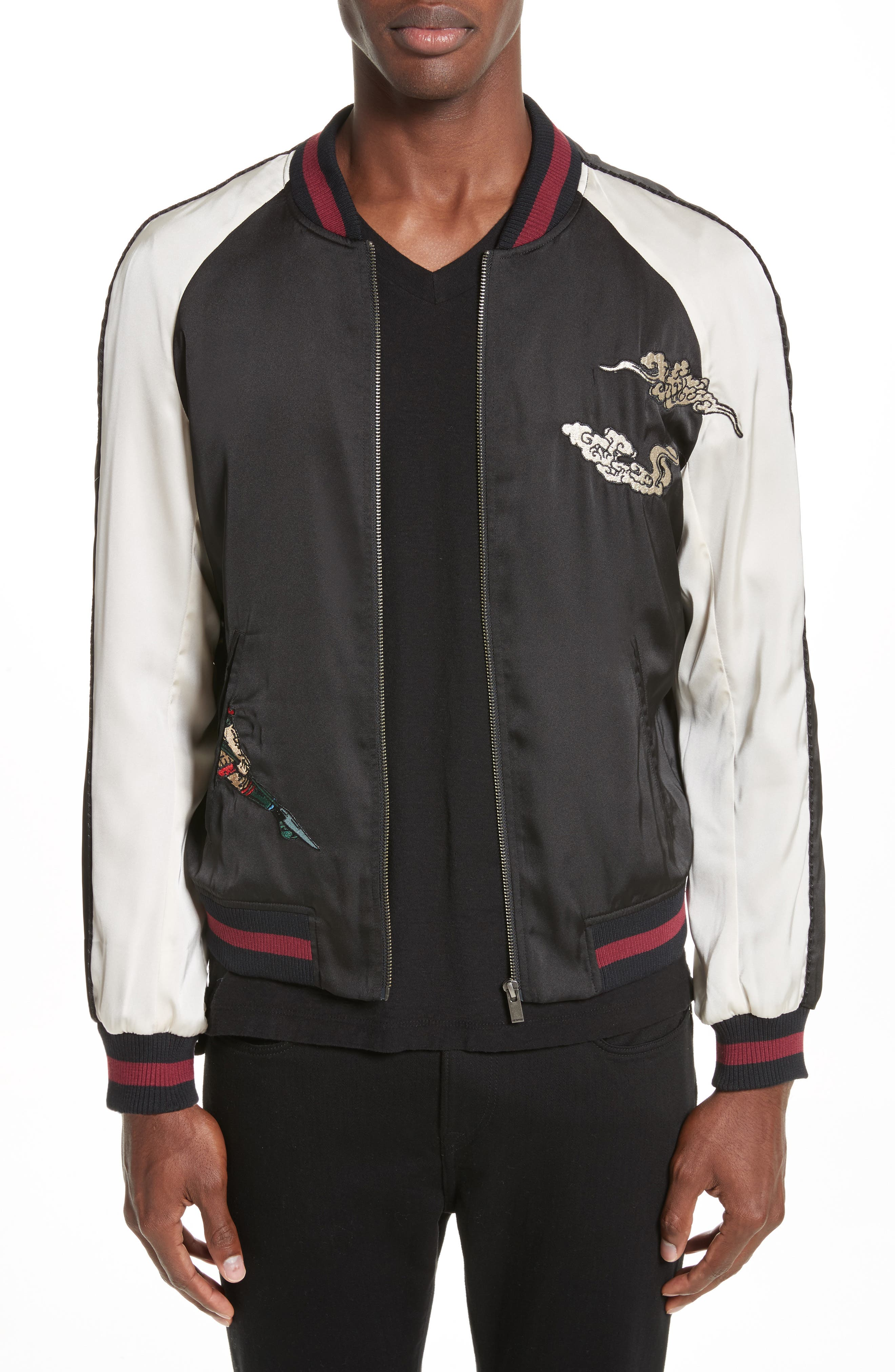 Alternate Image 1 Selected - The Kooples Embroidered Two-Tone Bomber Jacket