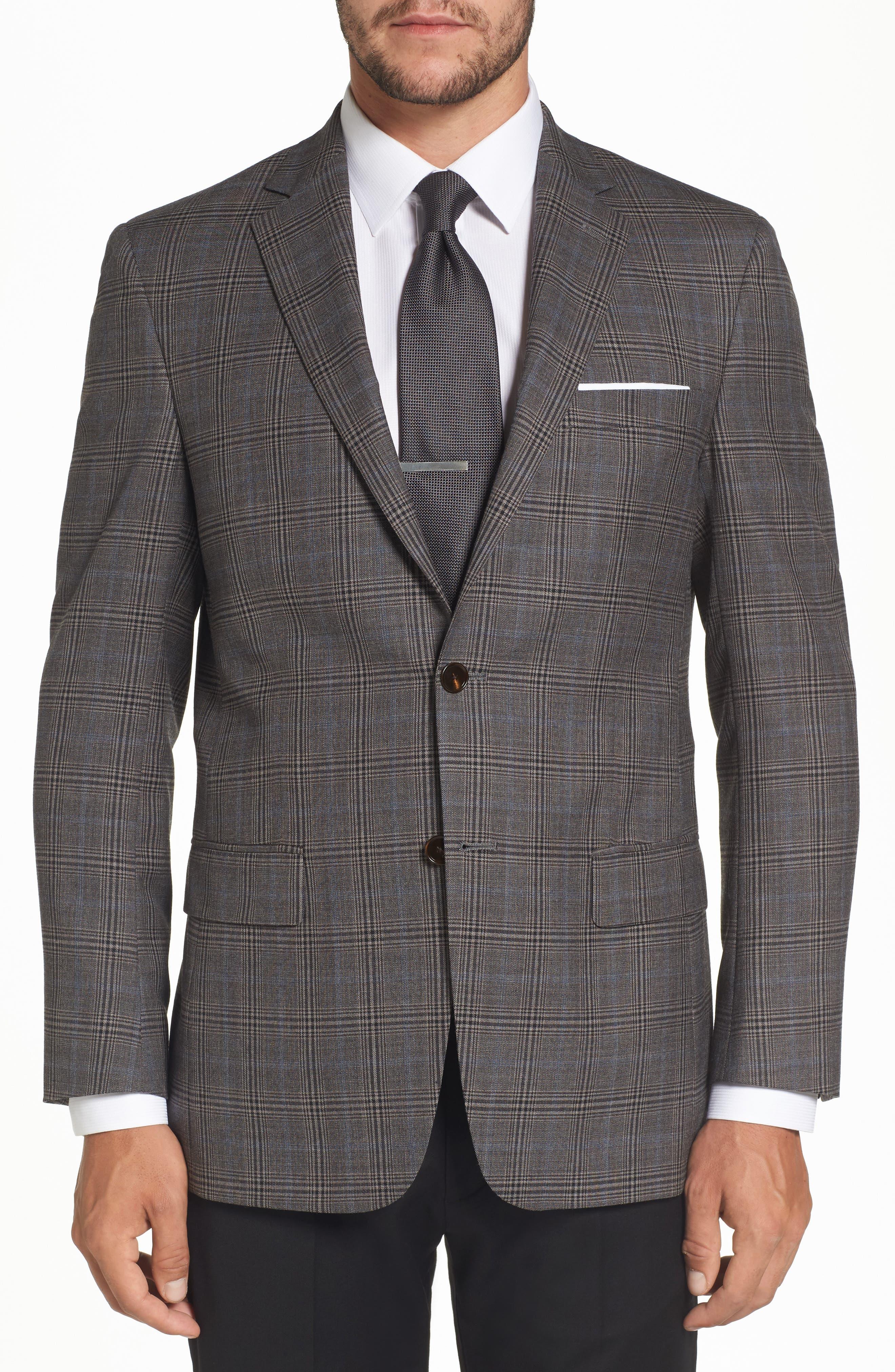 Classic Fit Plaid Stretch Wool Sport Coat,                         Main,                         color, Medium Grey