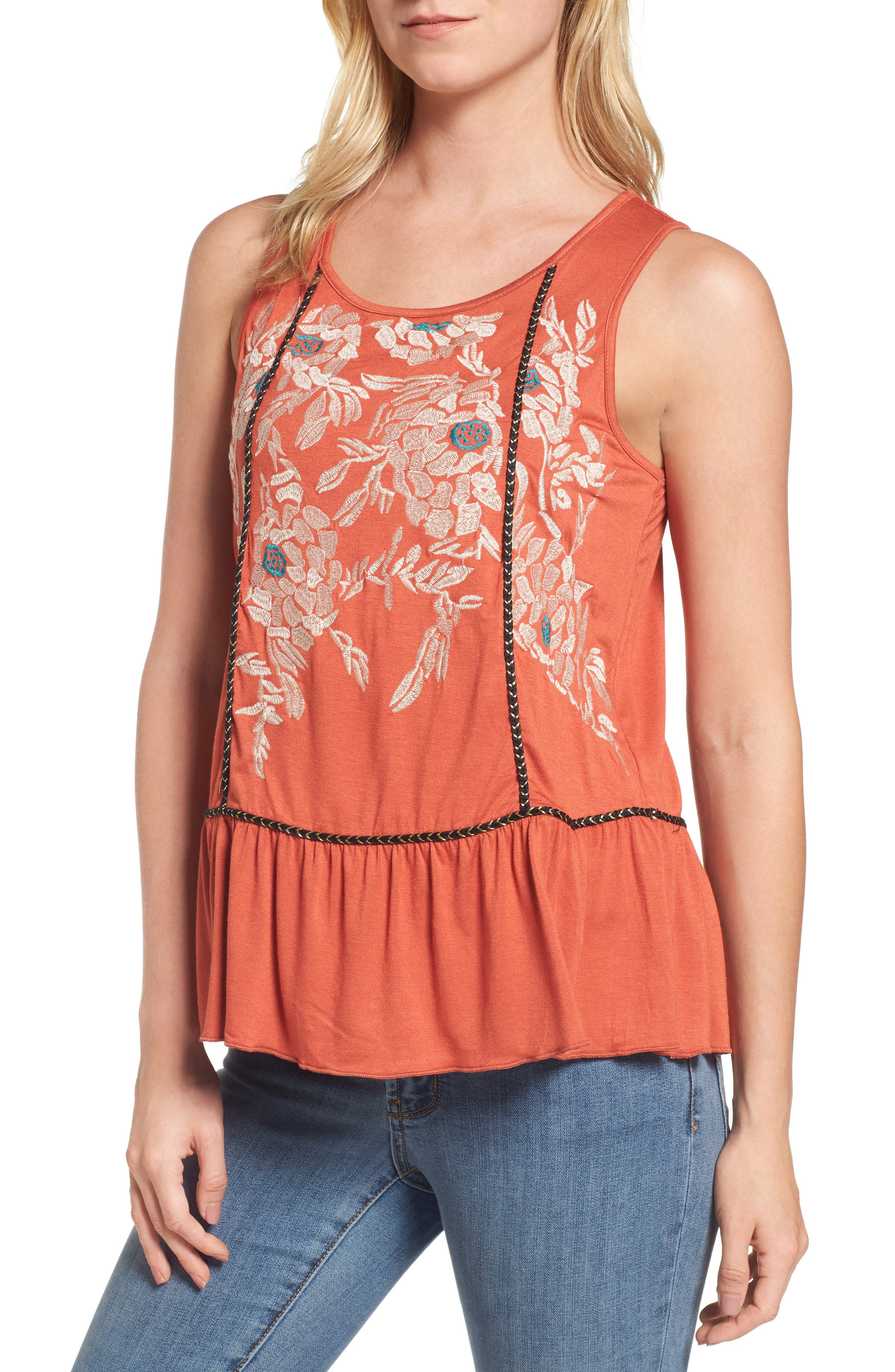 THML Embroidered Knit Peplum Top