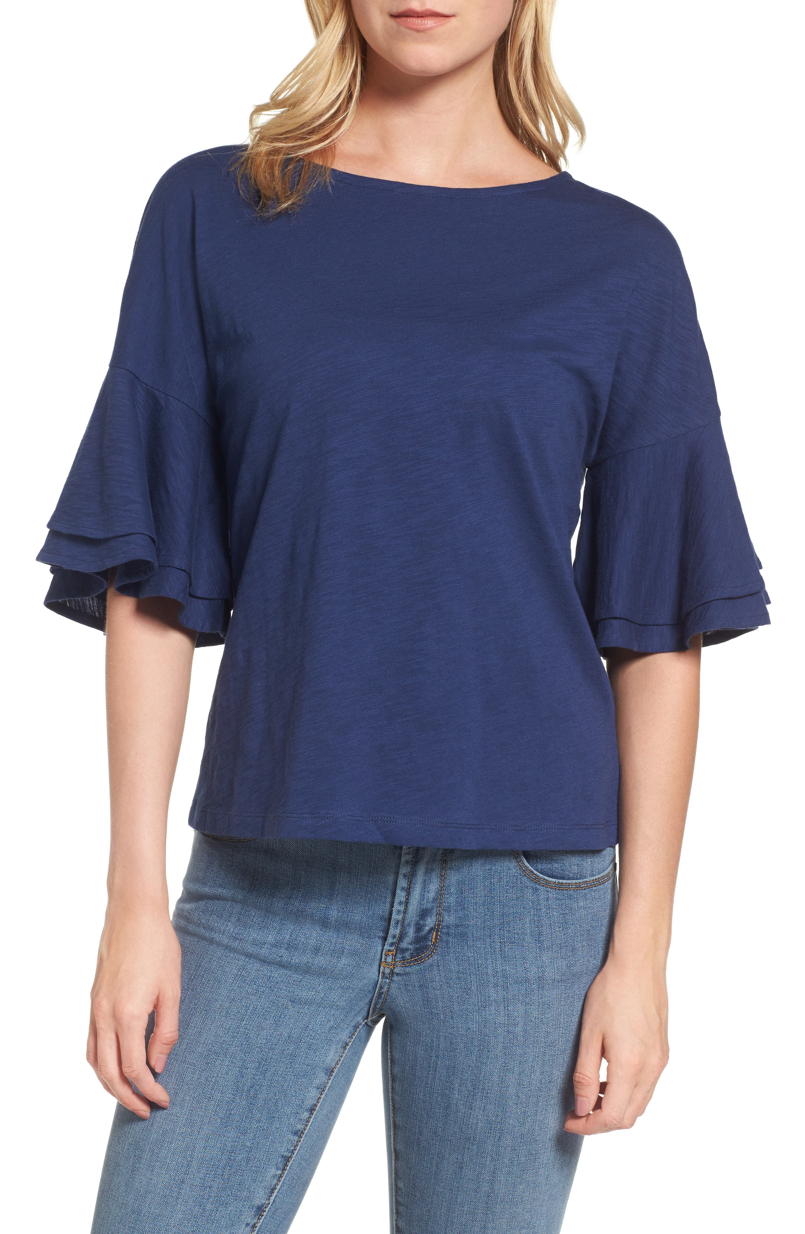 Button Back Bell Sleeve Top,                         Main,                         color, Deep Bay