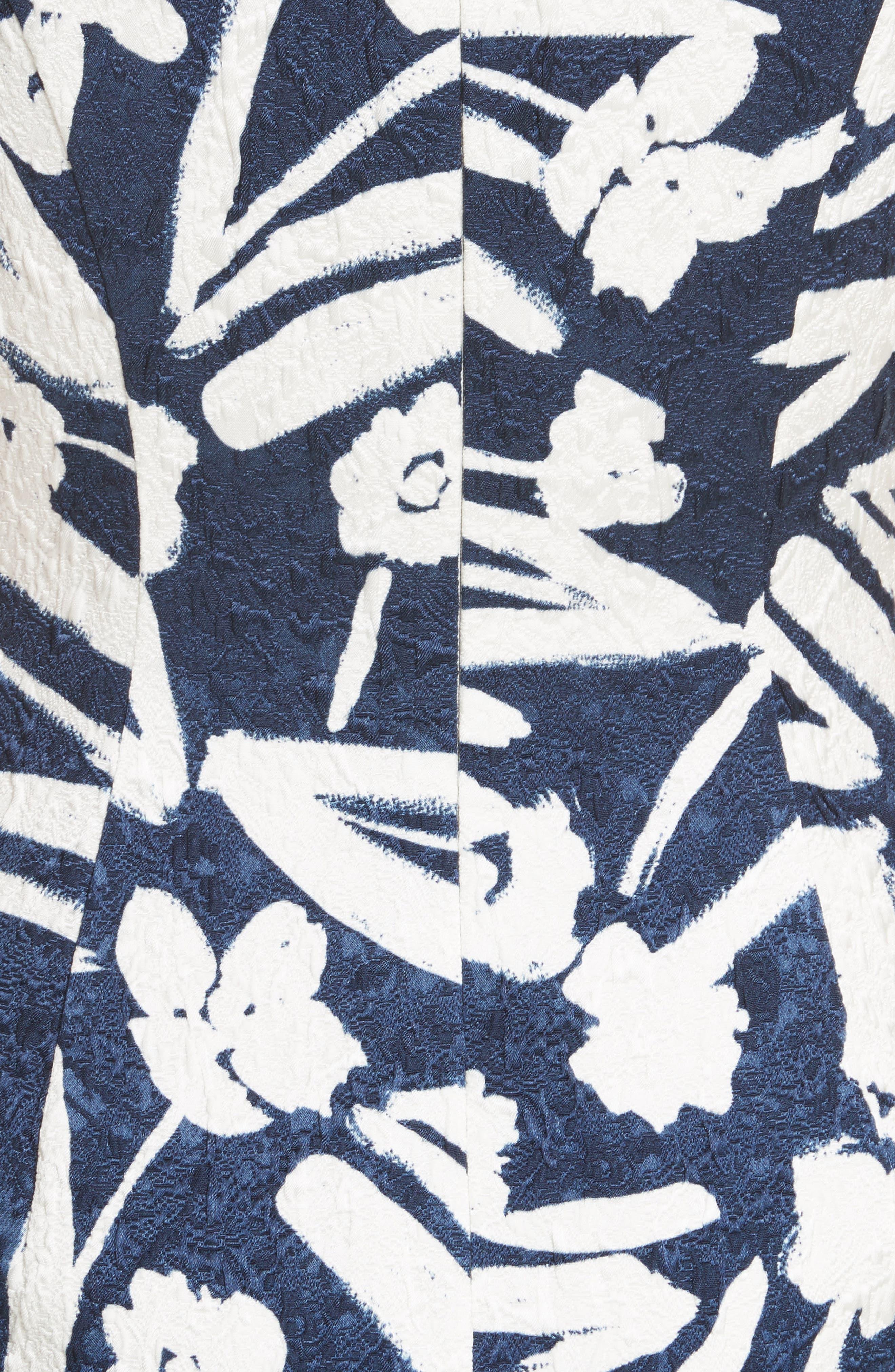 Painted Floral Cloqué Dress,                             Alternate thumbnail 5, color,                             Navy/ White