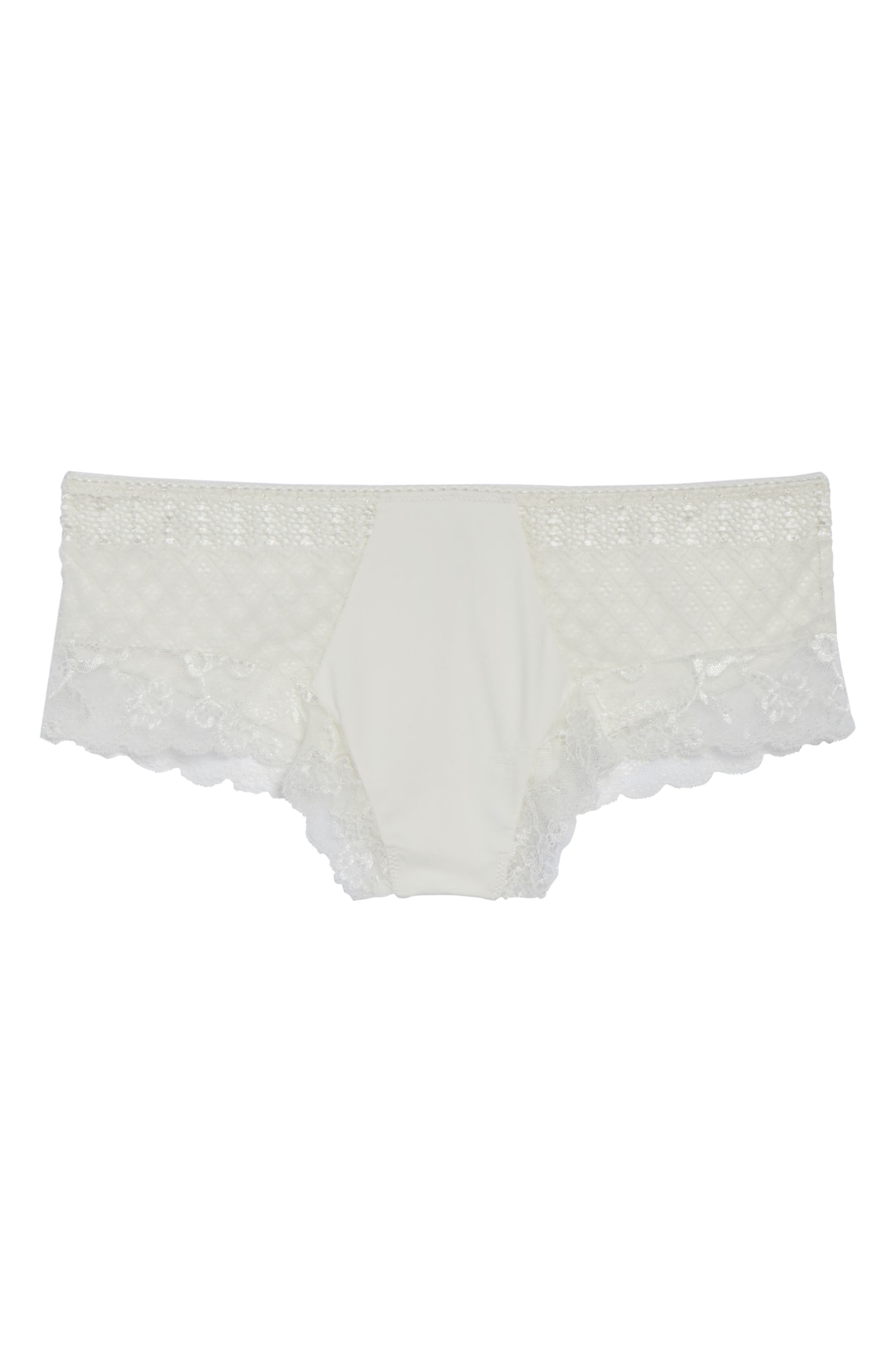 Honeydew Microfiber & Lace Hipster Panties,                             Alternate thumbnail 4, color,                             Ivory