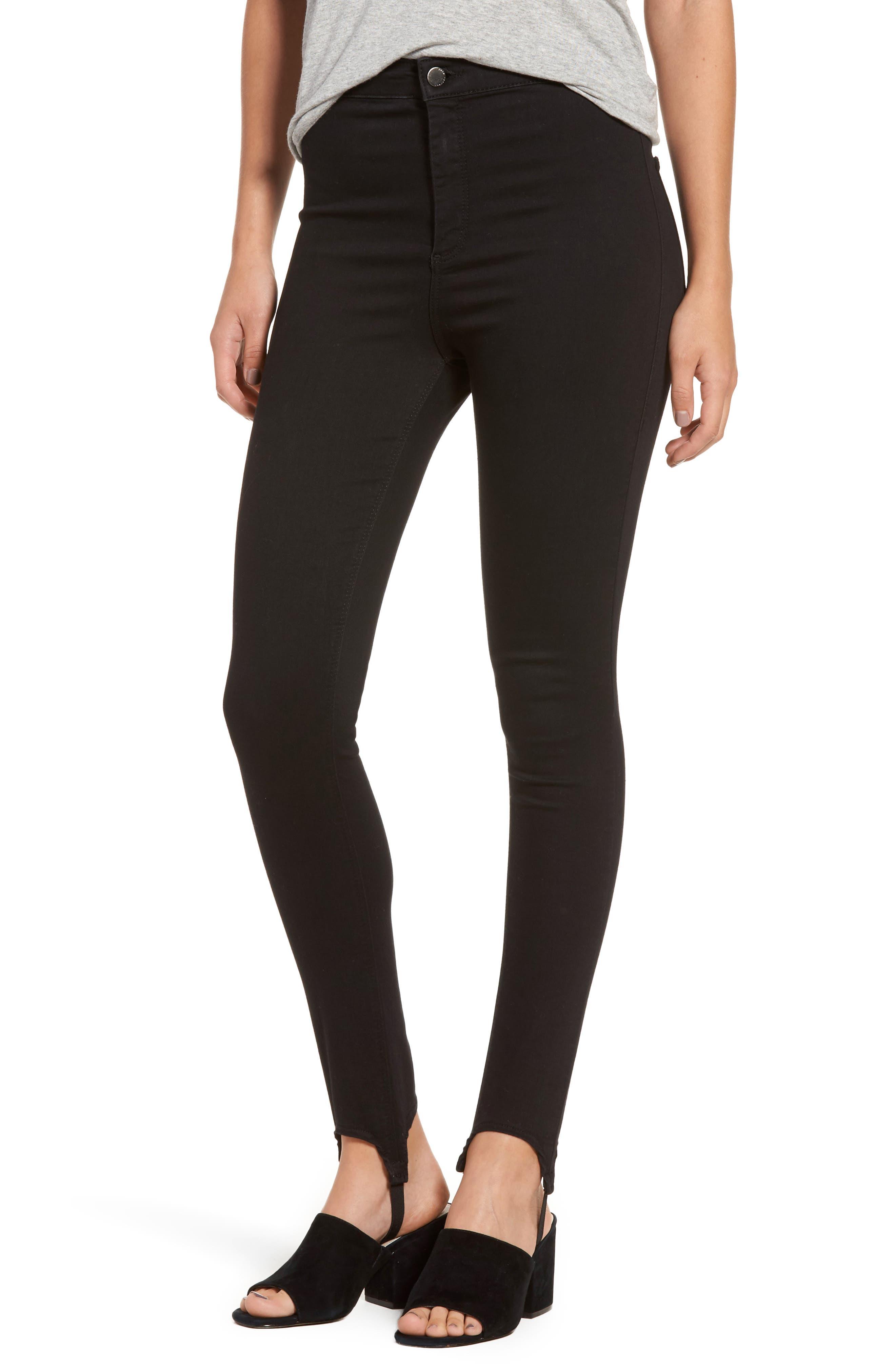 High Rise Skinny Stirrup Jeans,                             Main thumbnail 1, color,                             Black