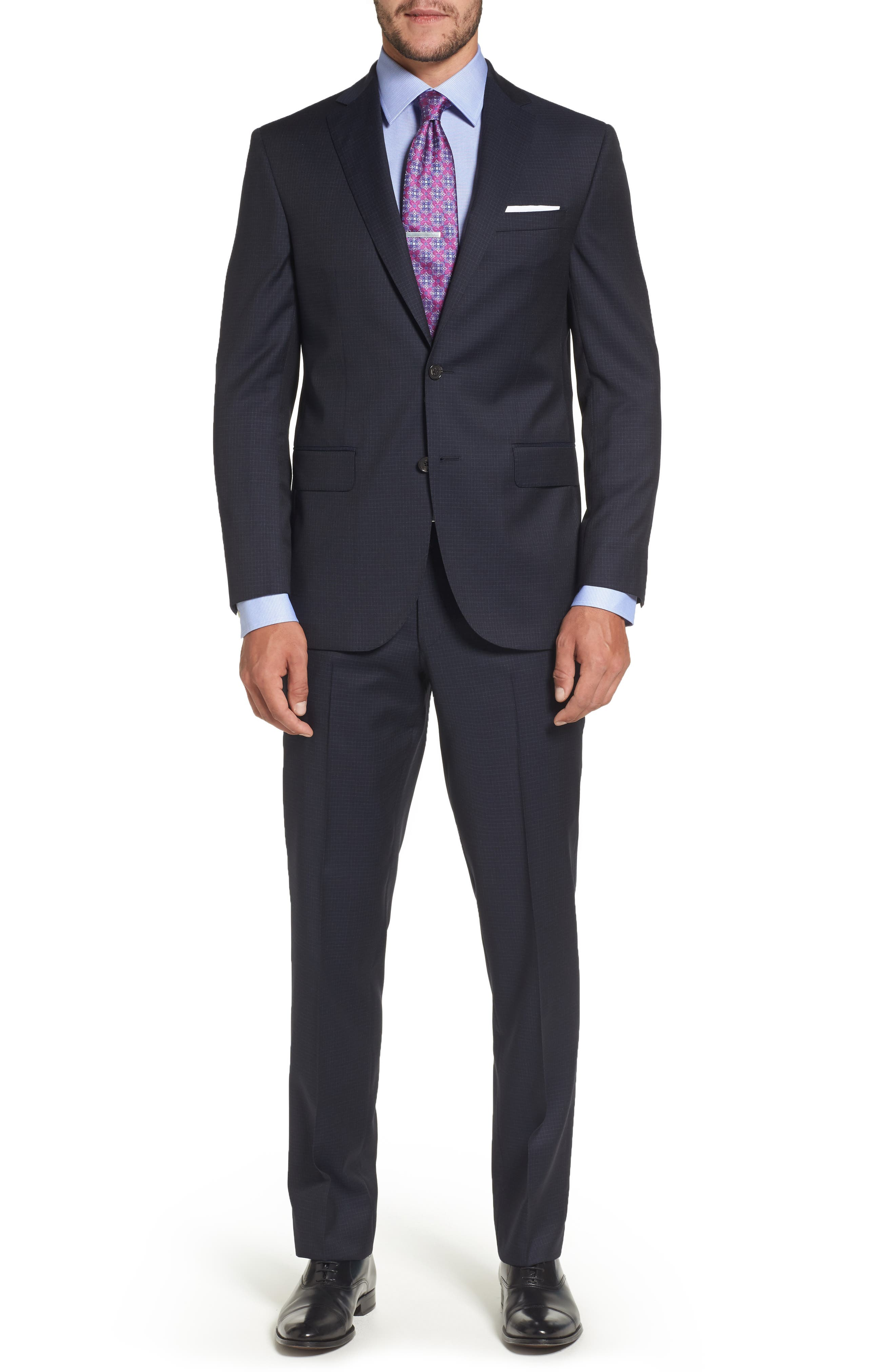 Ryan Classic Fit Check Wool Suit,                         Main,                         color, Navy