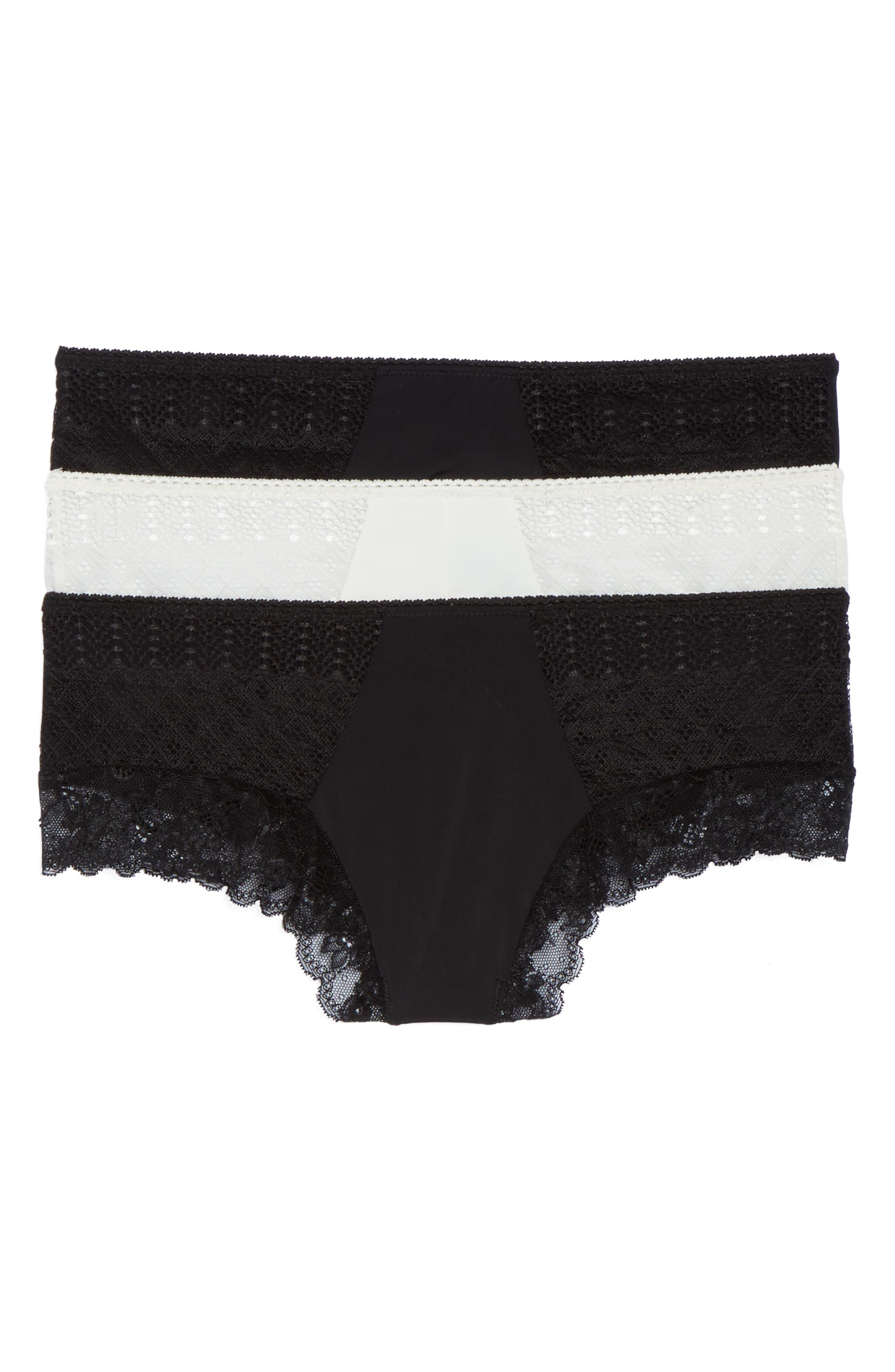 3-Pack Lace Trim Hipster Panties,                         Main,                         color, Black/ Ivory/ Black