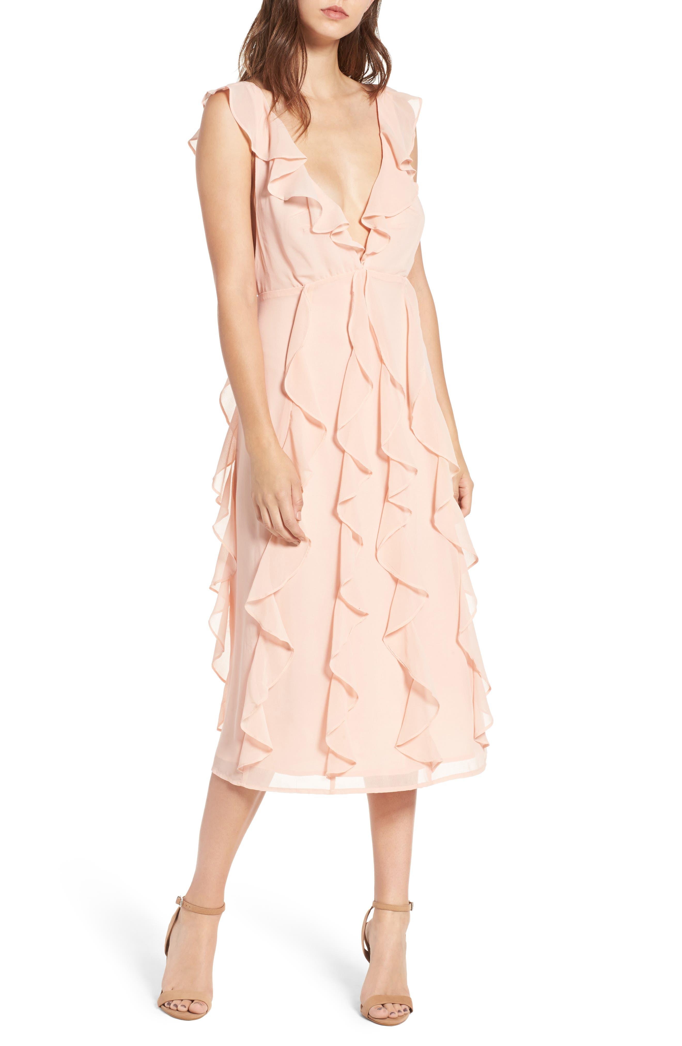 Ingrid Ruffle Chiffon Midi Dress,                             Main thumbnail 1, color,                             Cameo Rose