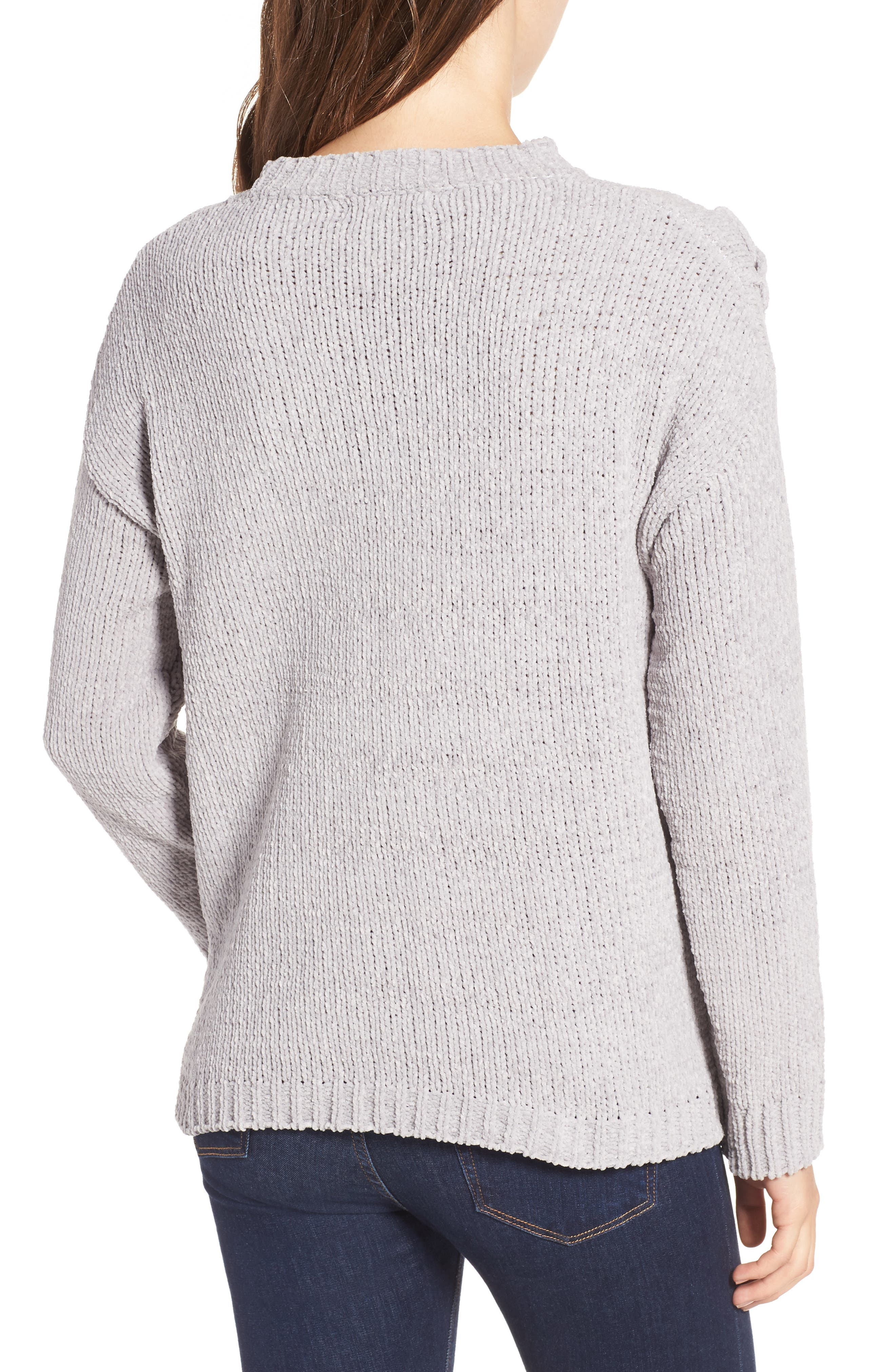 Alternate Image 2  - Woven Heart Lace-Up Chenille Pullover