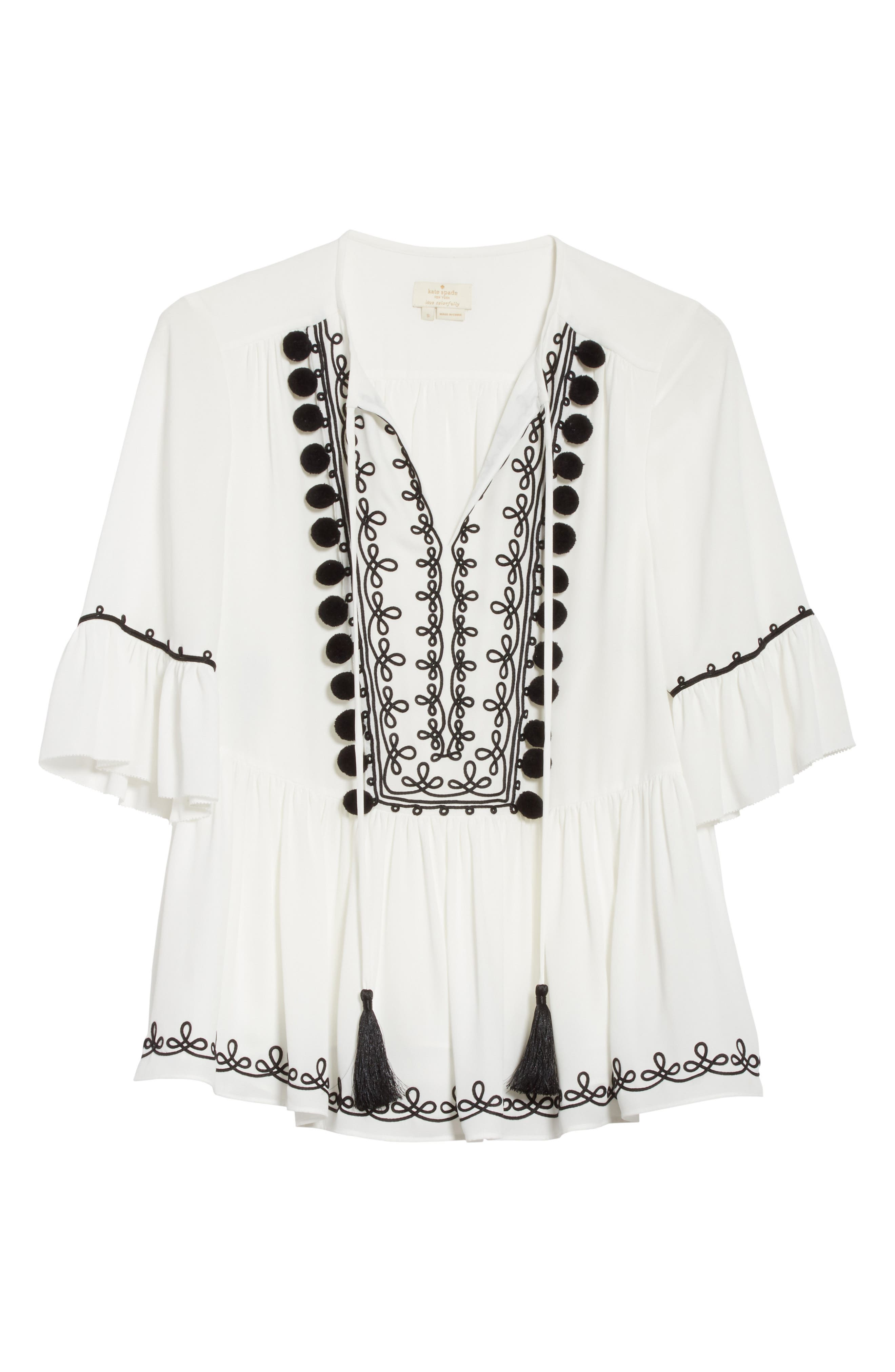 pom embroidered top,                             Alternate thumbnail 7, color,                             Cream