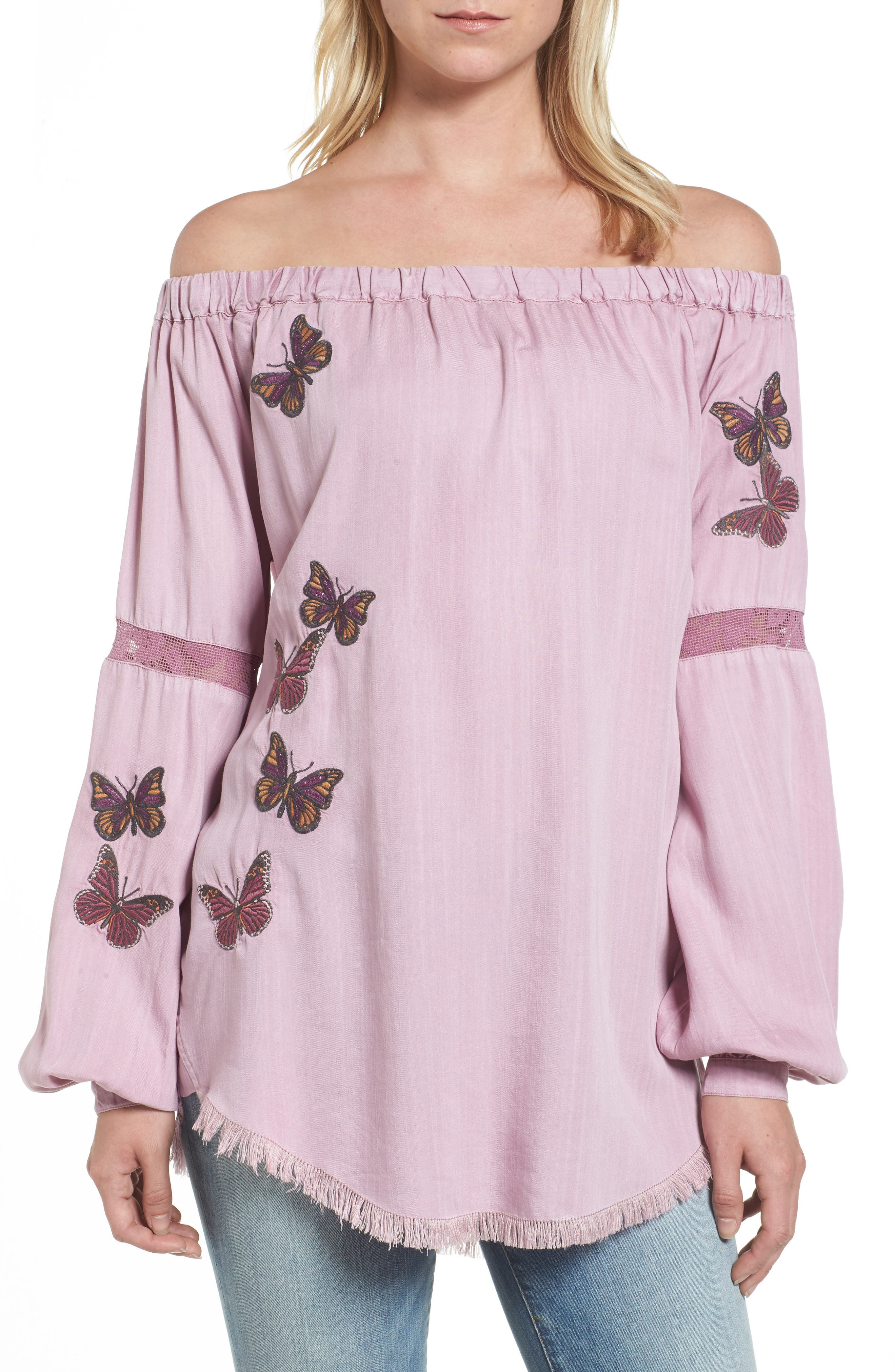 Embroidered Off the Shoulder Top,                             Main thumbnail 1, color,                             Dusty Rose