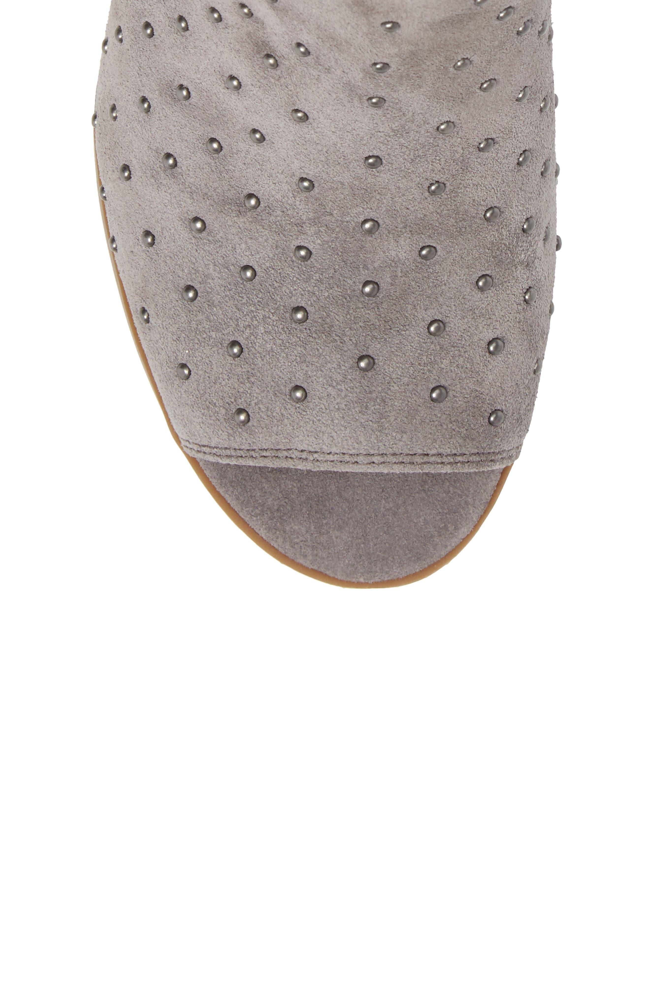 Barleena Peep Toe Bootie,                             Alternate thumbnail 5, color,                             Steel Grey Suede