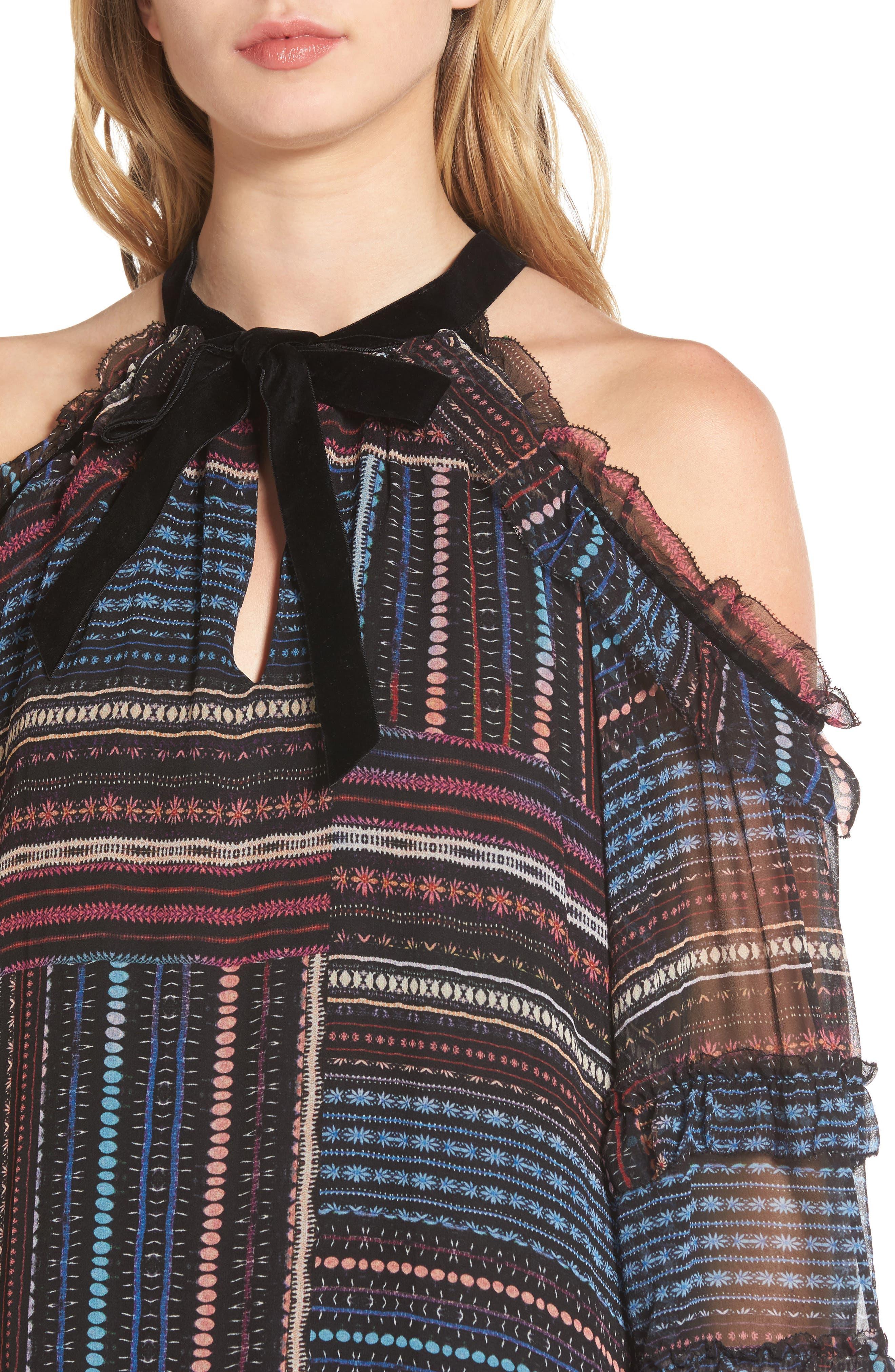 Alternate Image 4  - Parker Bianca Cold Shoulder Silk Shift Dress