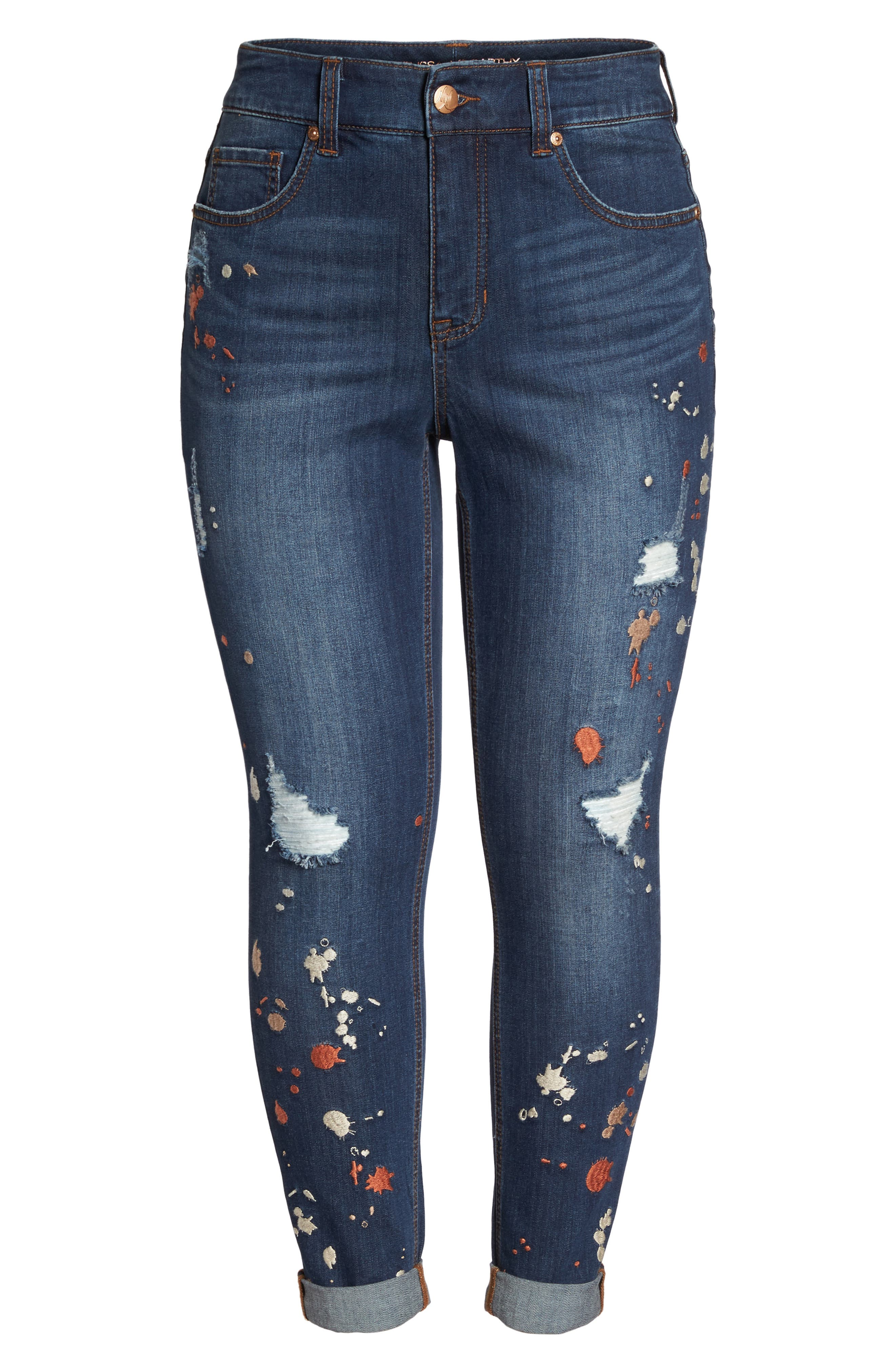 Alternate Image 6  - Melissa McCarthy Seven7 Paint Splatter Stretch Skinny Jeans (Plus Size)