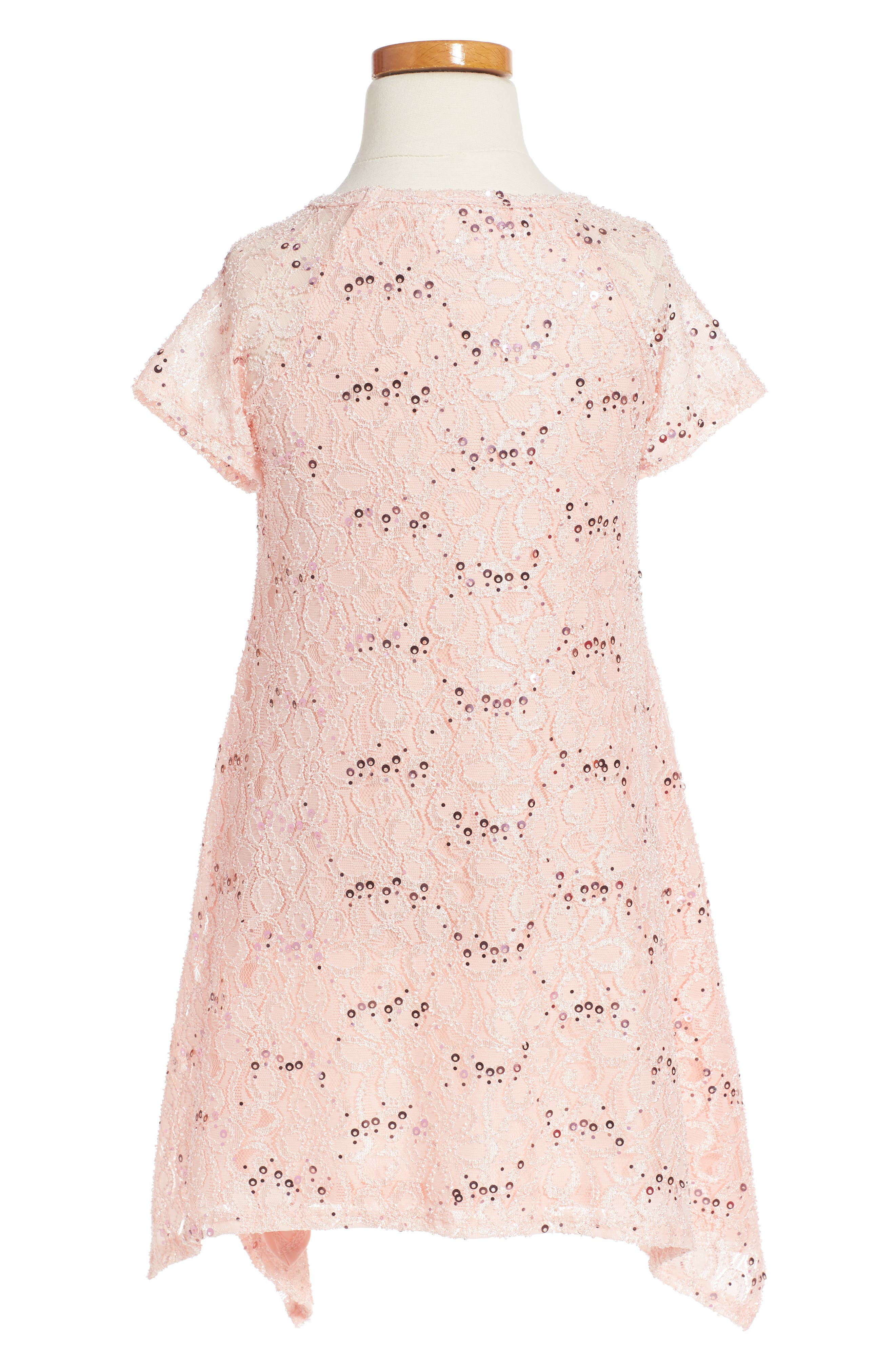Lace Sequin Dress,                             Alternate thumbnail 2, color,                             Peachy Pink