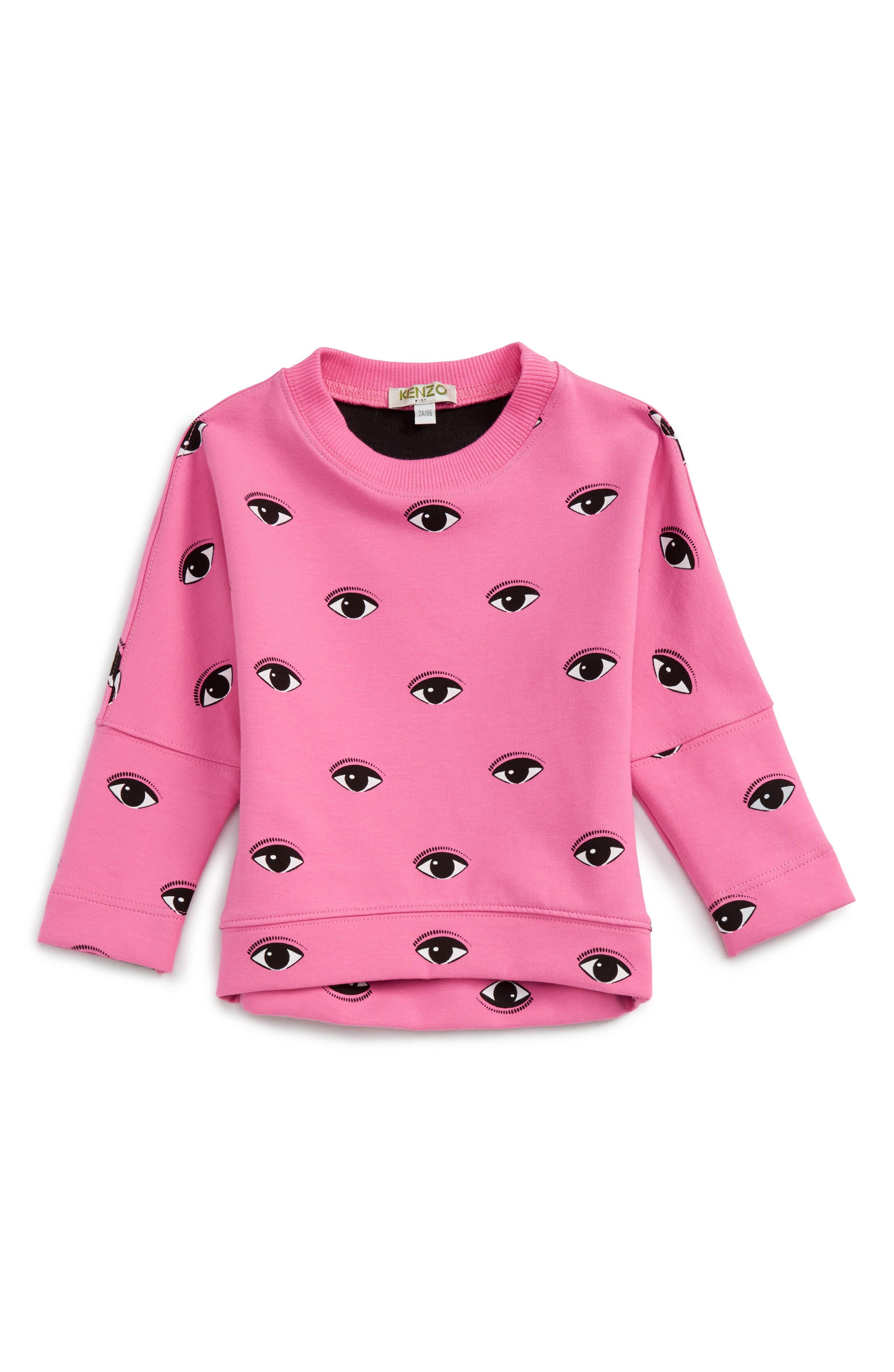 Eye Print Sweatshirt,                         Main,                         color, Old Pink