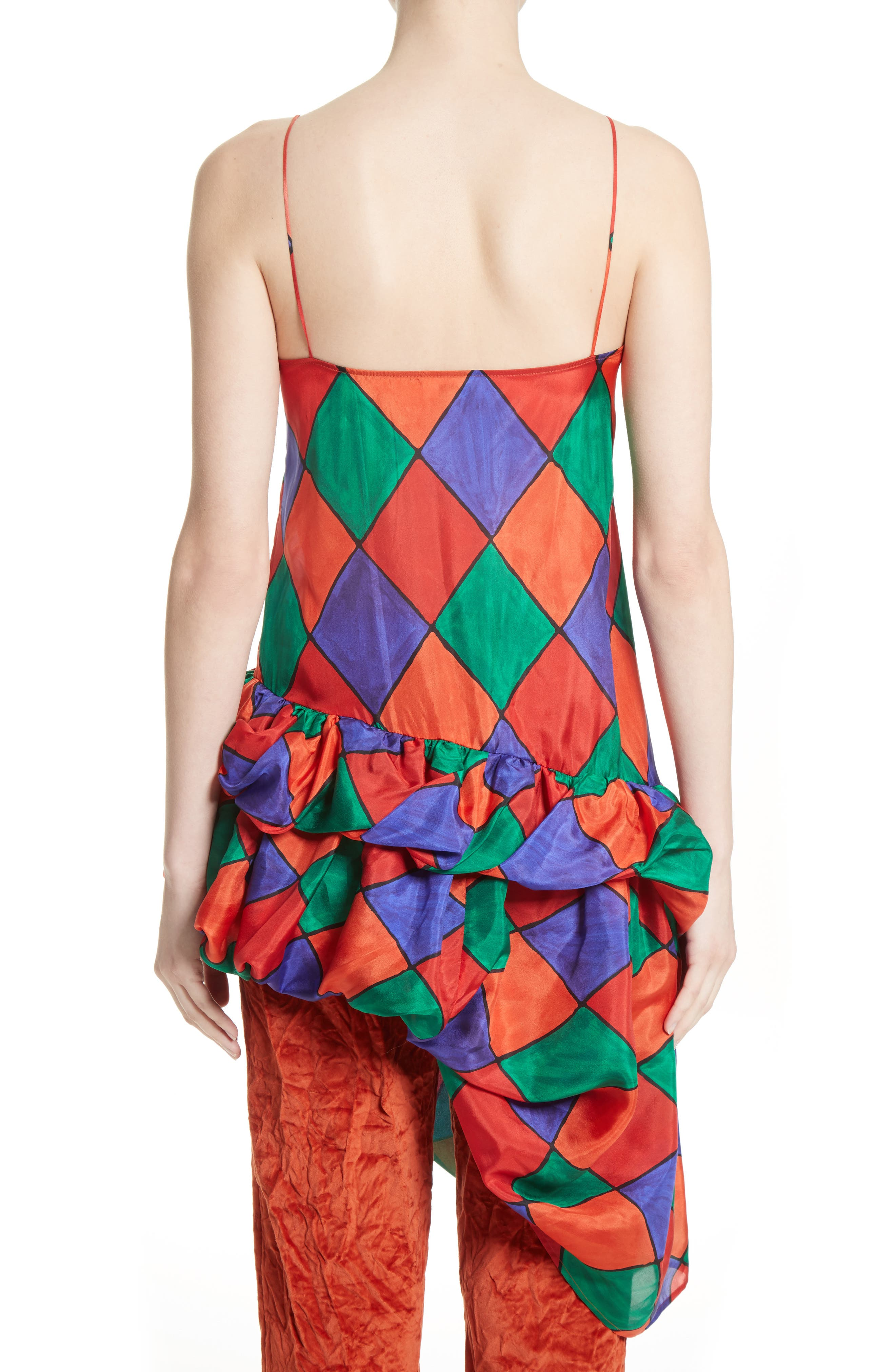 Fairy Asymmetrical Ruffle Silk Top,                             Alternate thumbnail 2, color,                             Carnival