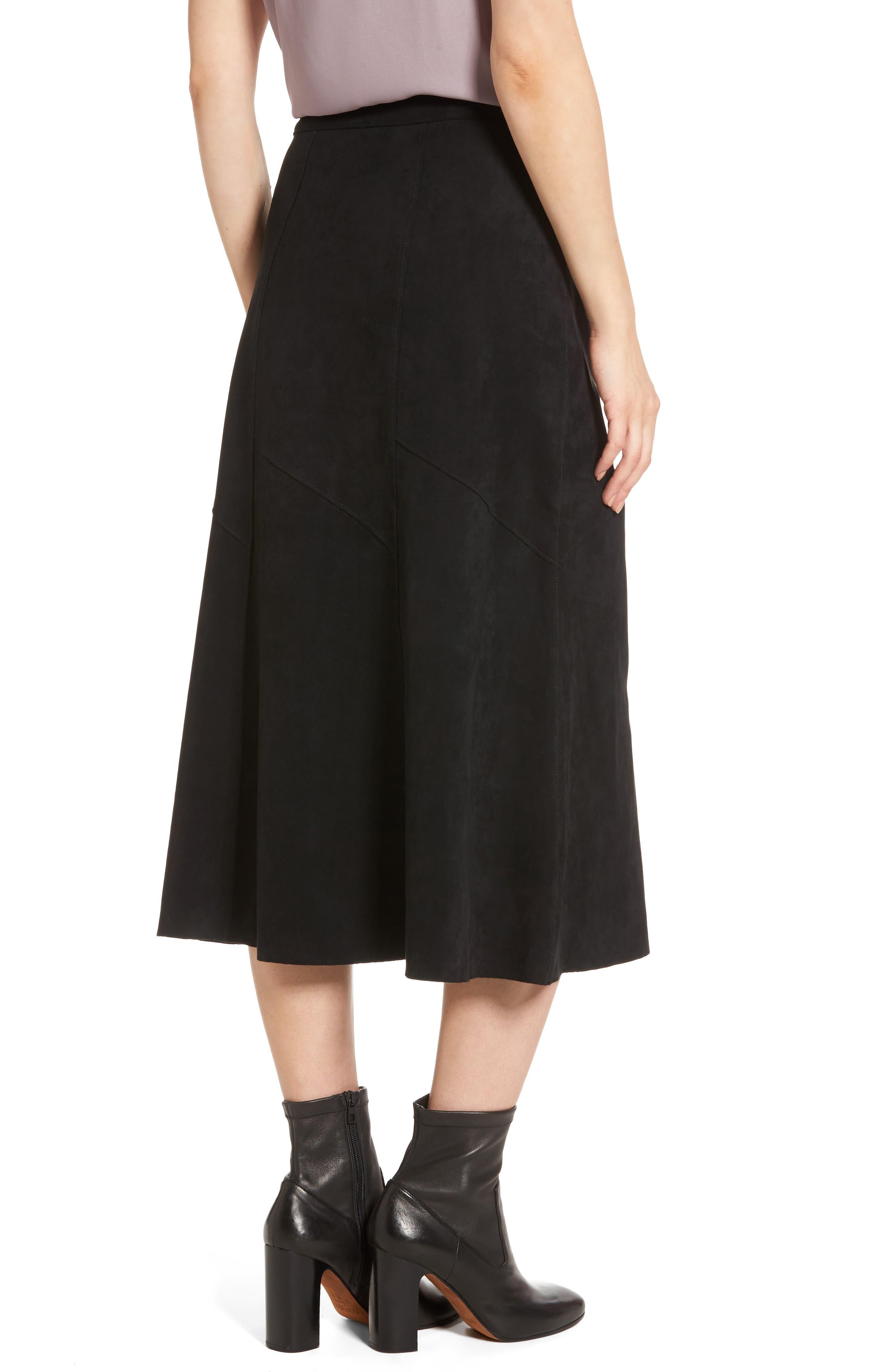Faux Suede Midi Skirt,                             Alternate thumbnail 2, color,                             Black