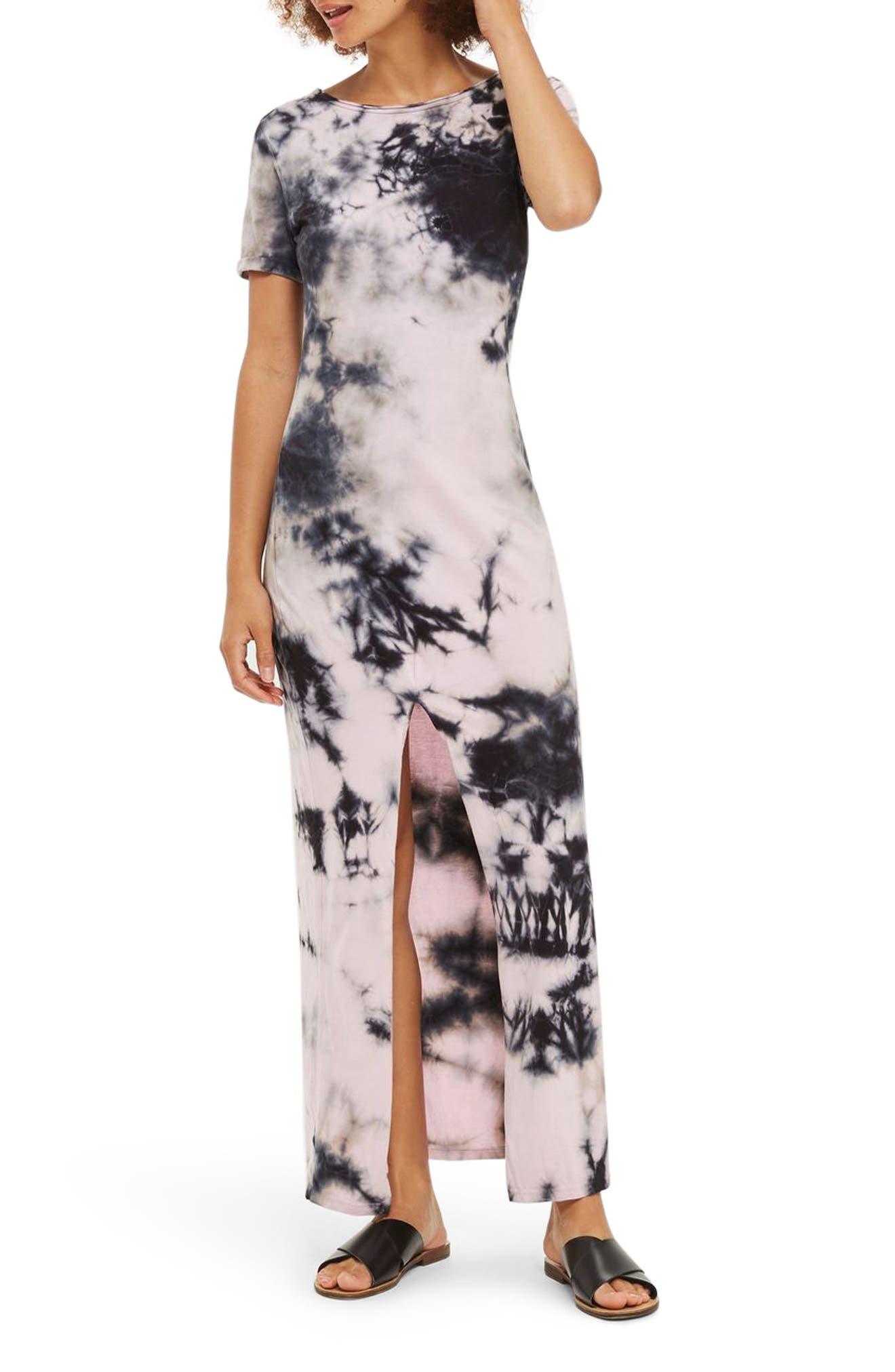 Topshop Tie Dye Lace-Up Back Maxi Dress