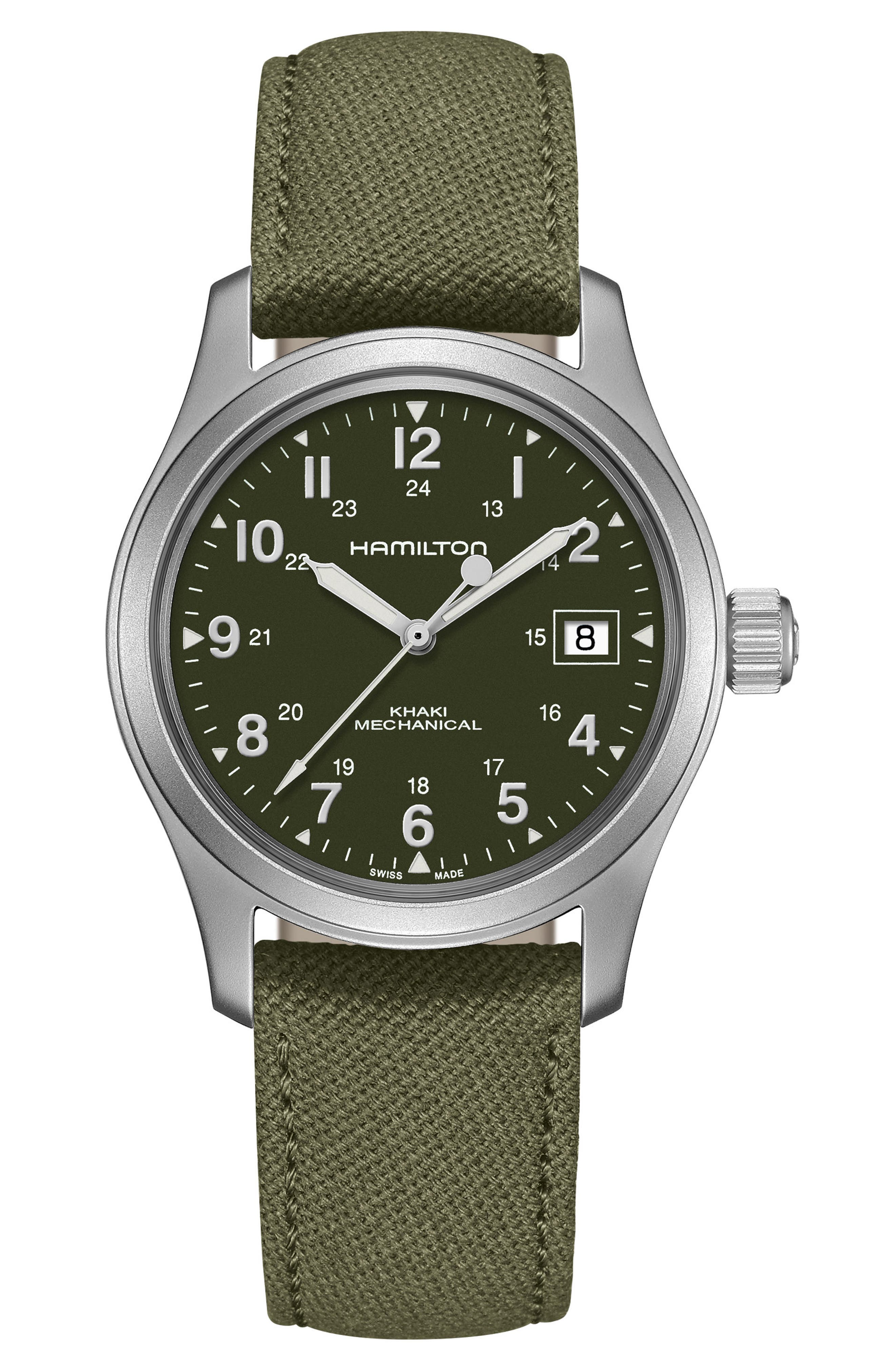 Khaki Field Canvas Strap Watch, 38mm,                         Main,                         color, Green/ Silver