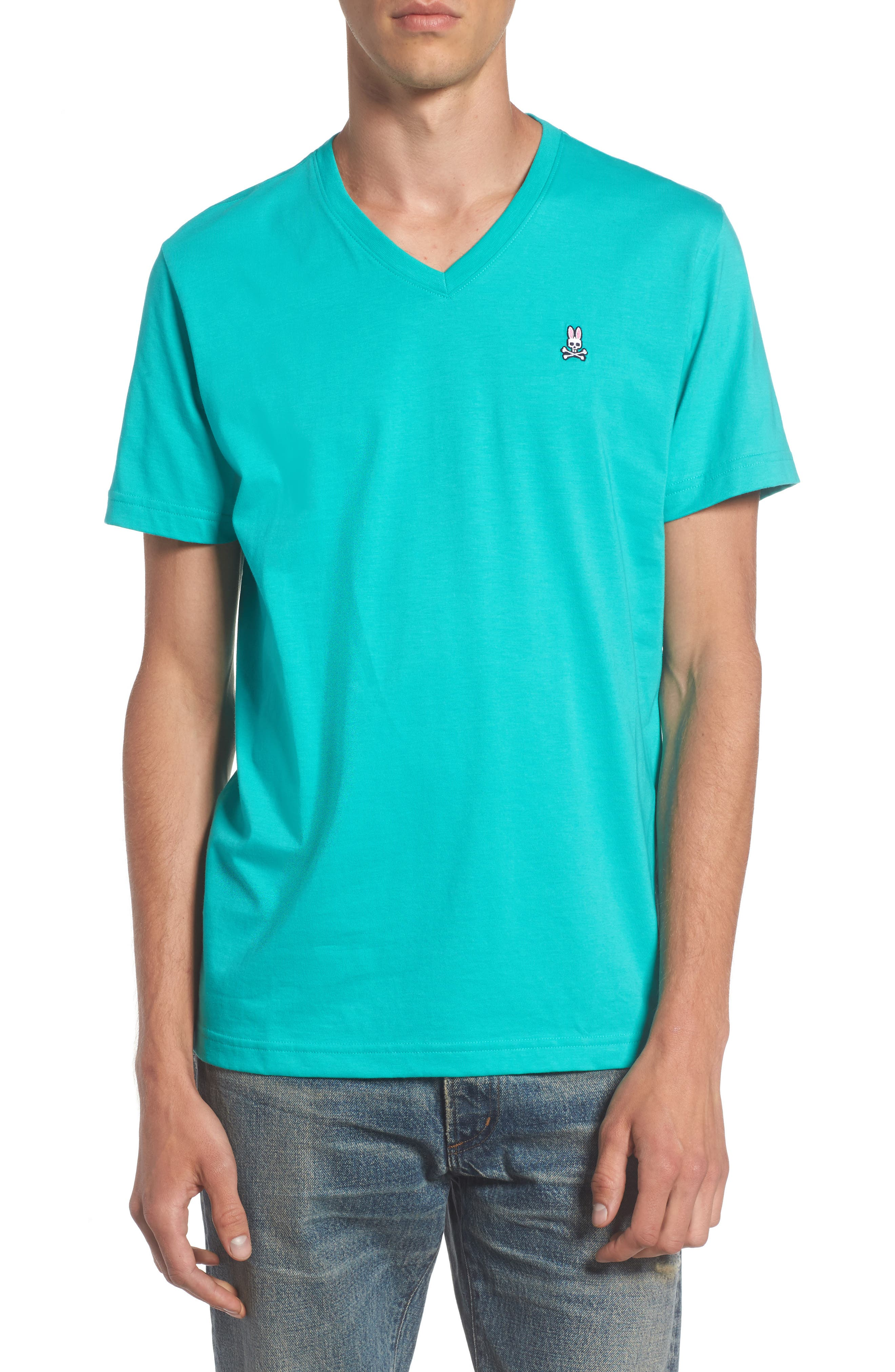 V-Neck T-Shirt,                         Main,                         color, Tiffany