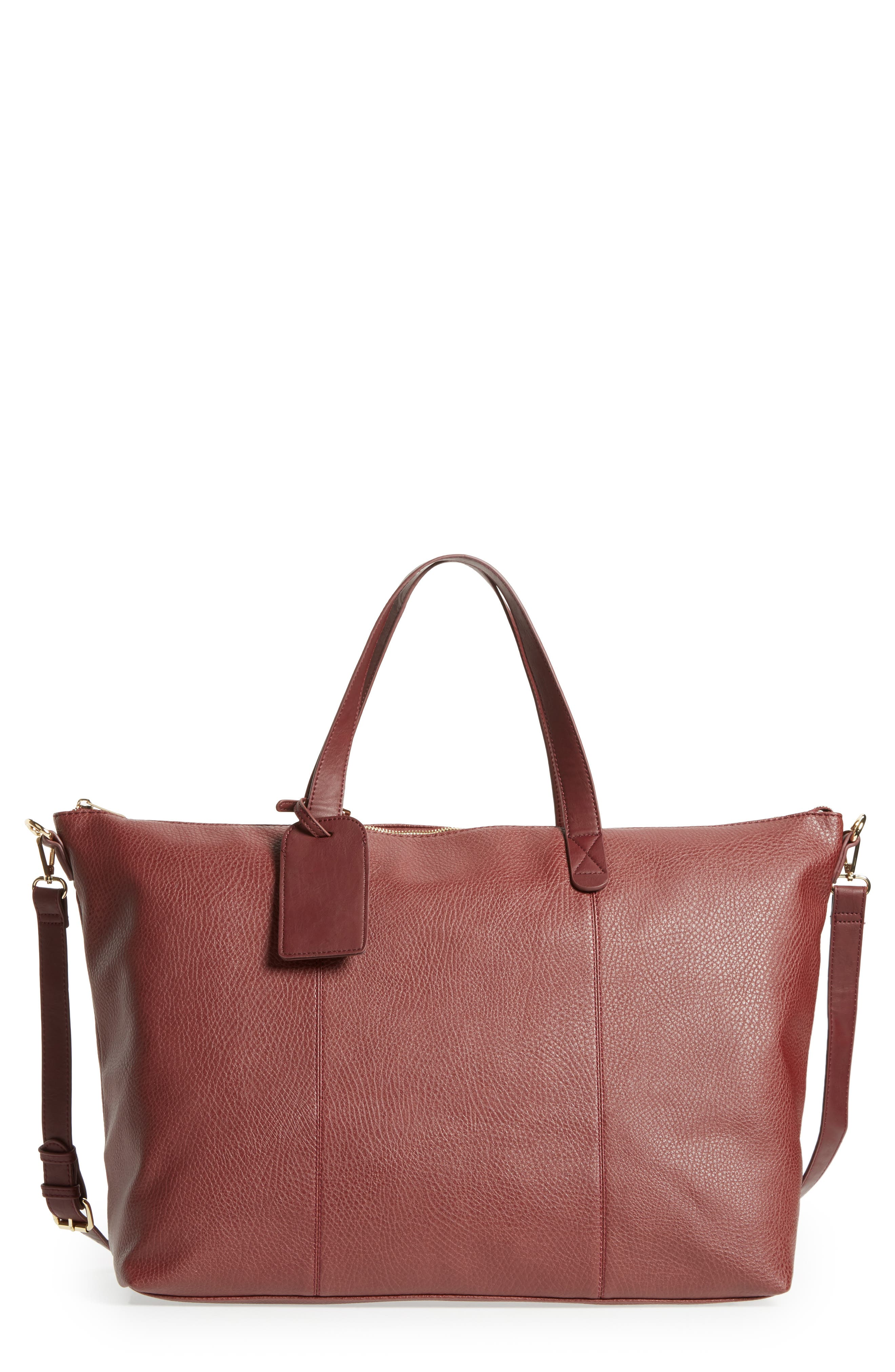 Candice Oversize Travel Tote,                             Main thumbnail 1, color,                             Oxblood