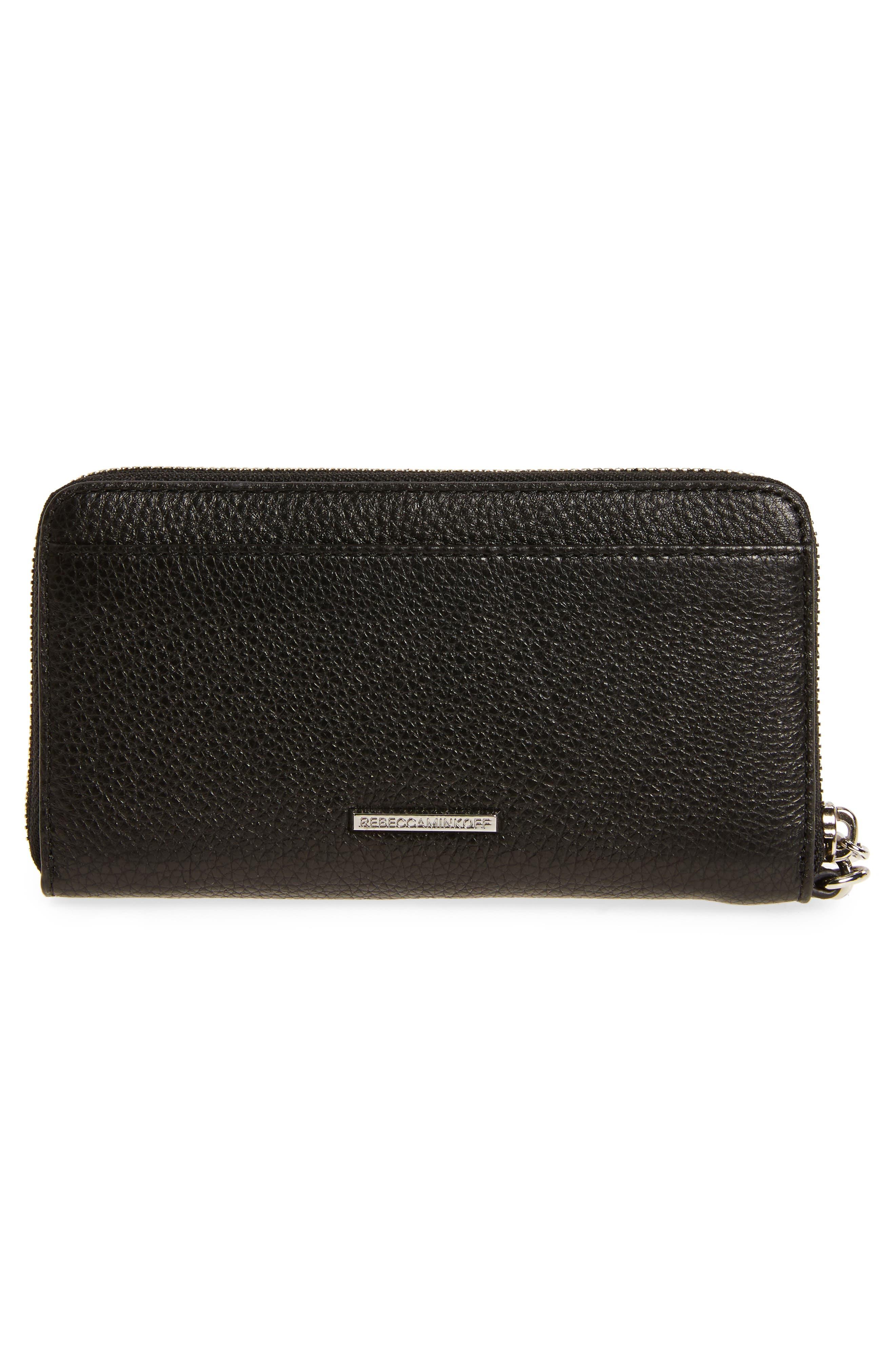 Vanity Leather Phone Wallet,                             Alternate thumbnail 3, color,                             Black