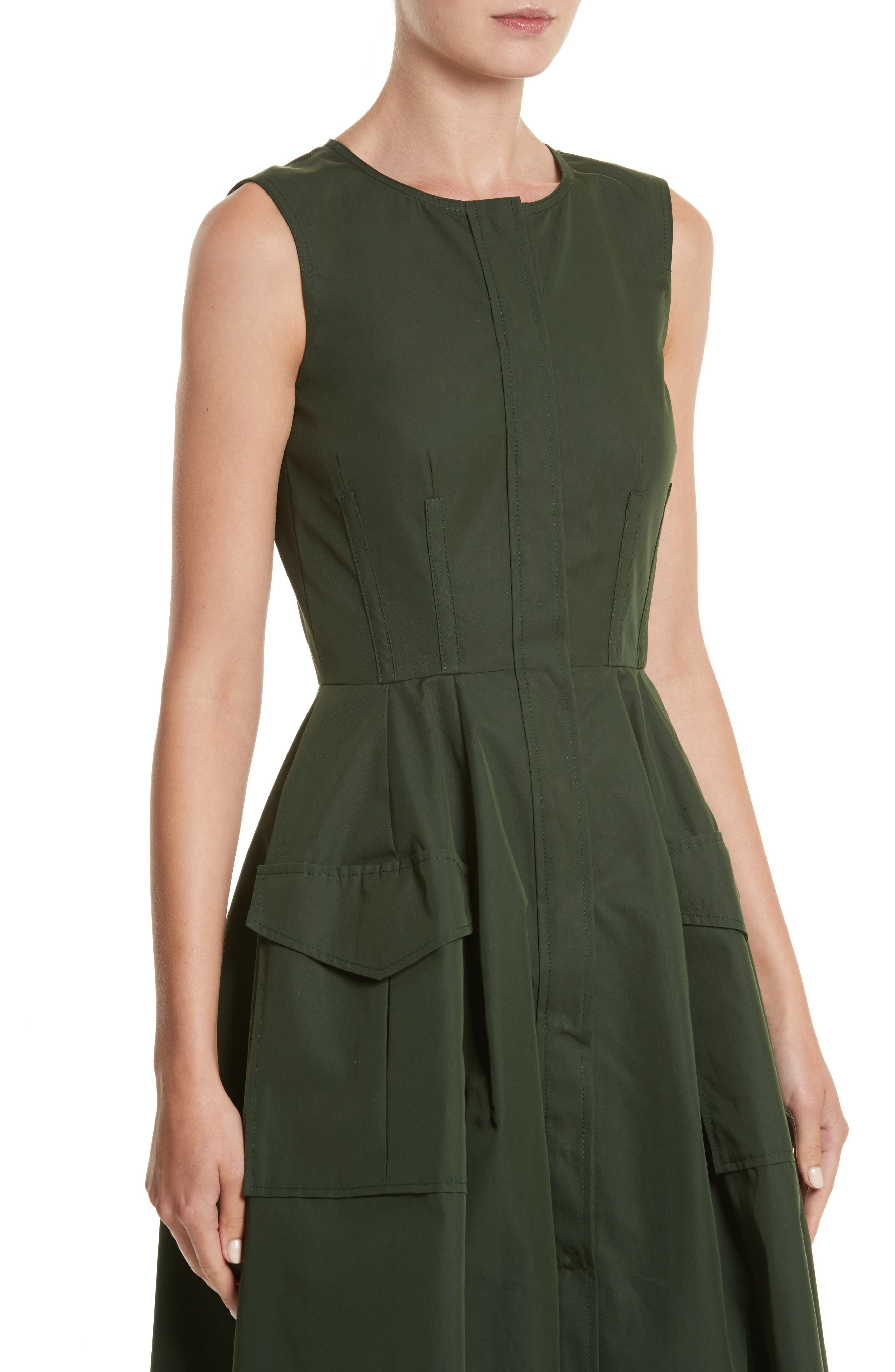Safari Micro Twill Dress,                             Alternate thumbnail 4, color,                             Fern