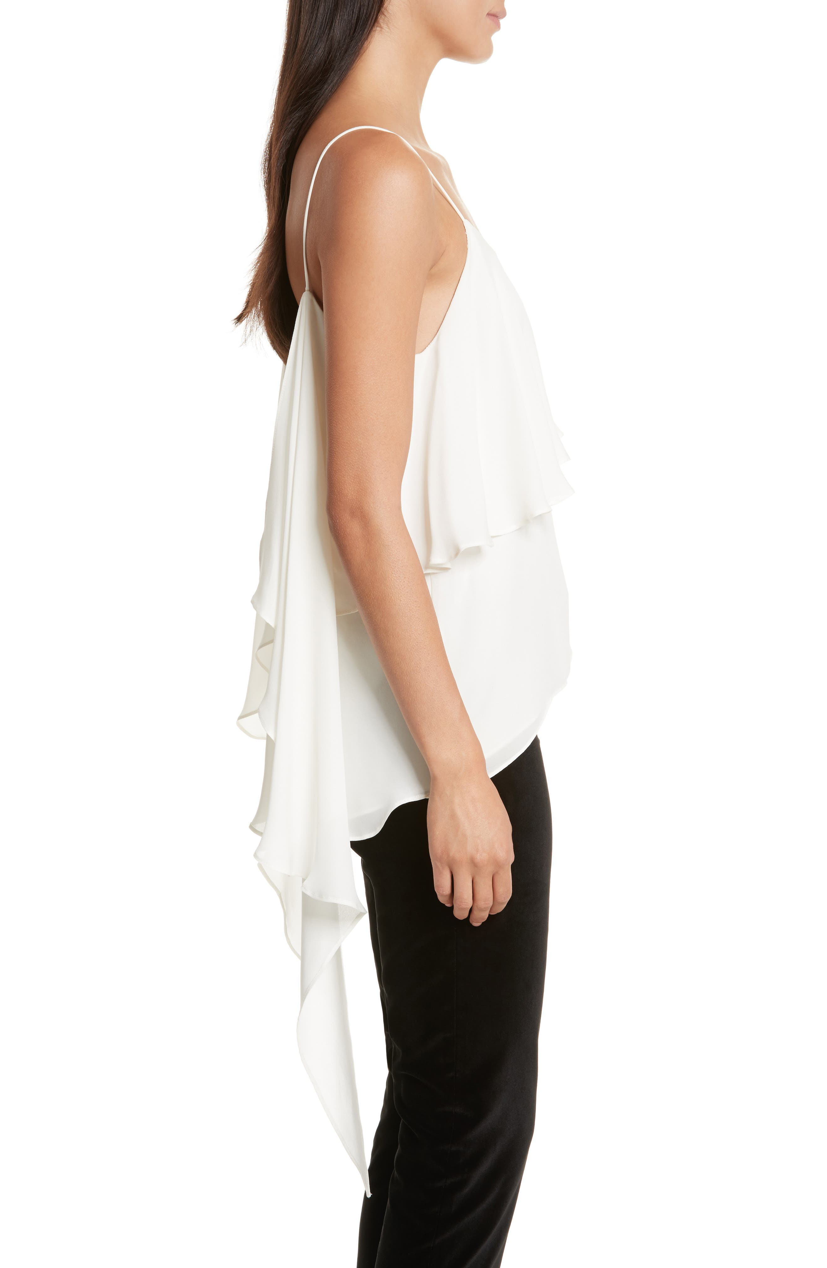 Maribel Asymmetrical Drape Silk Camisole,                             Alternate thumbnail 5, color,                             Off White