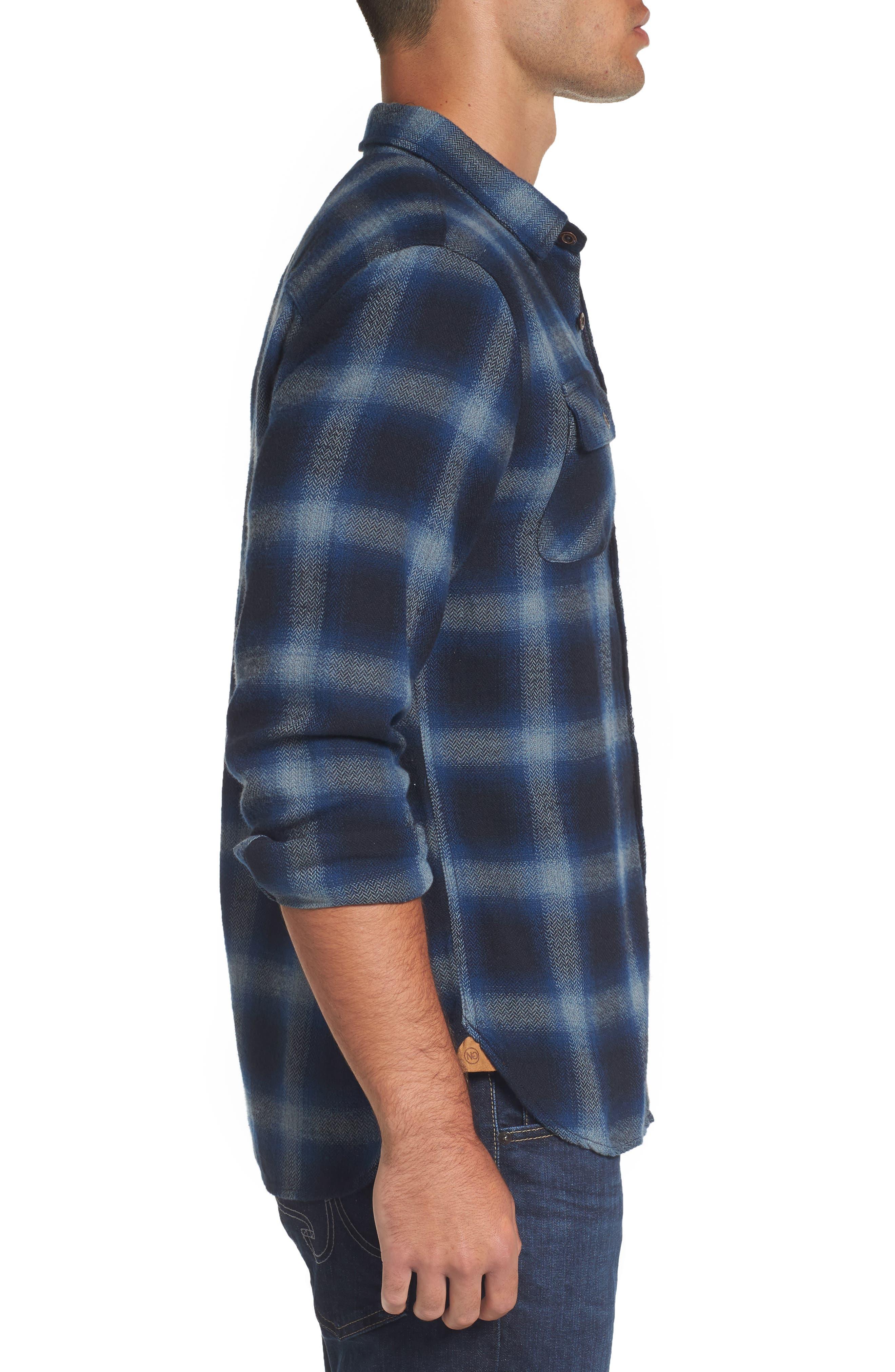 Truman Outdoor Check Sport Shirt,                             Alternate thumbnail 3, color,                             Navy/ Blue
