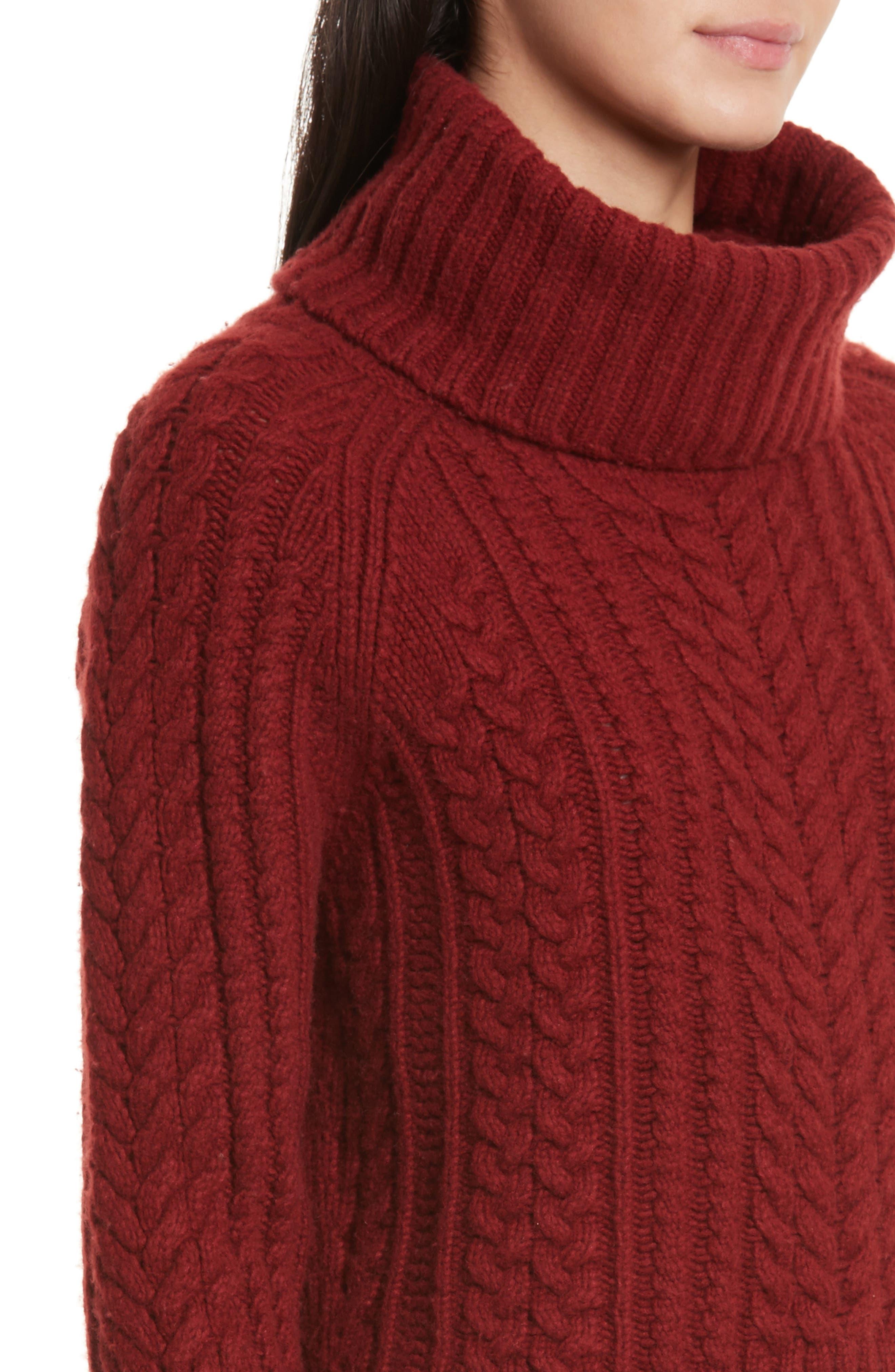 Tobin Cable Knit Crop Turtleneck Sweater,                             Alternate thumbnail 4, color,                             Bordeaux
