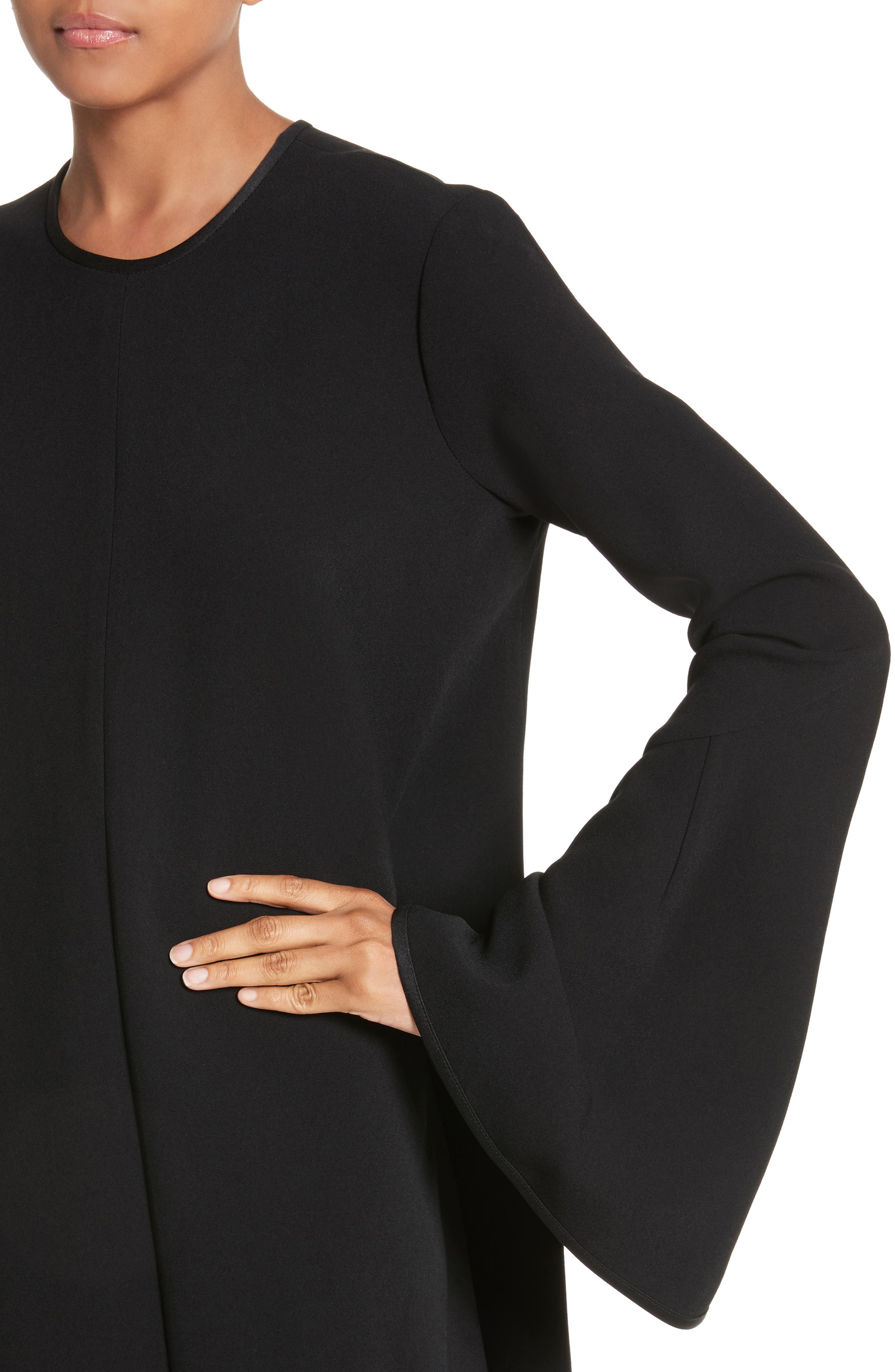 Preacher Flare Sleeve Minidress,                             Alternate thumbnail 7, color,                             Black