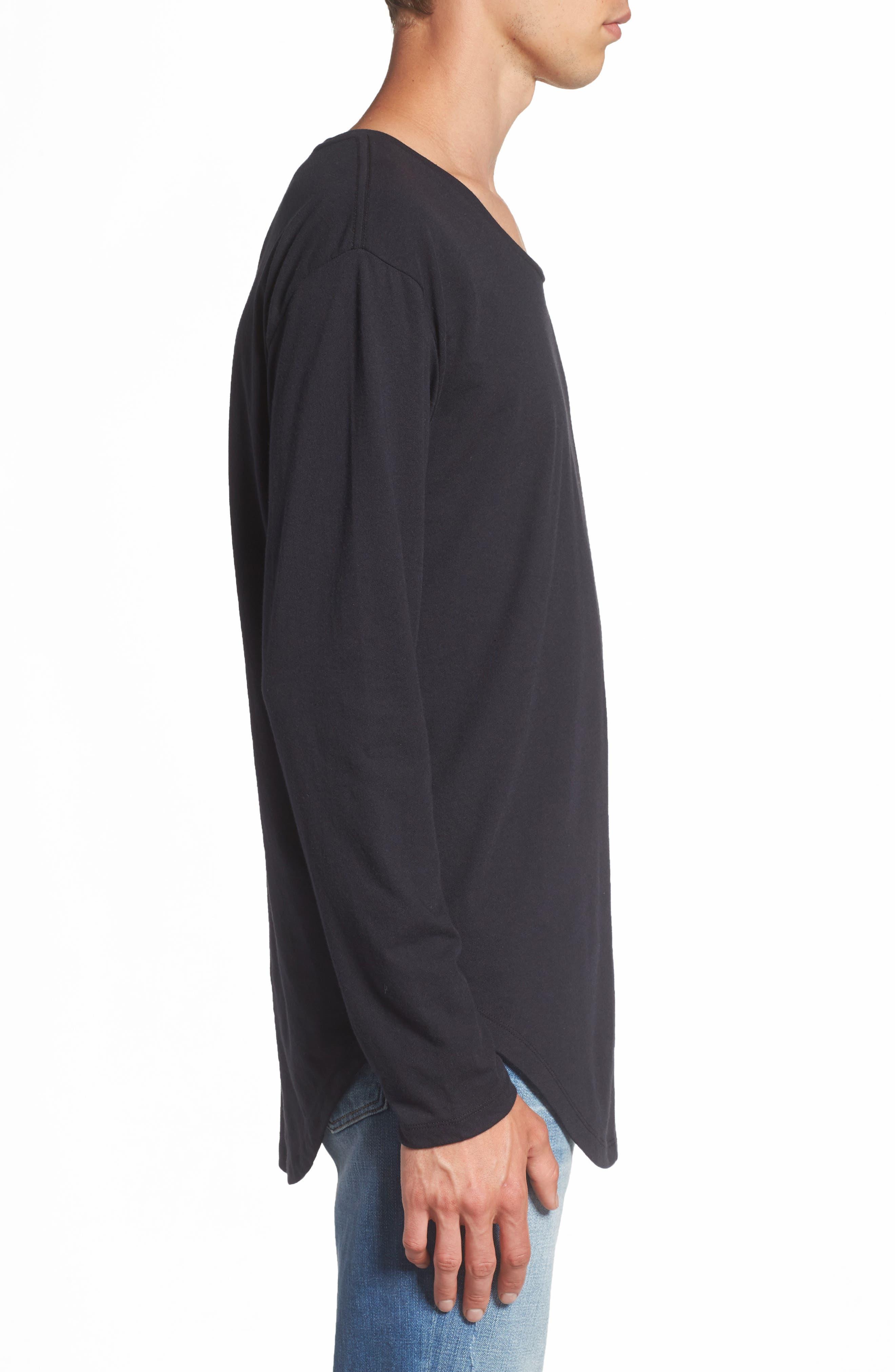 Shirttail T-Shirt,                             Alternate thumbnail 3, color,                             Black Rock