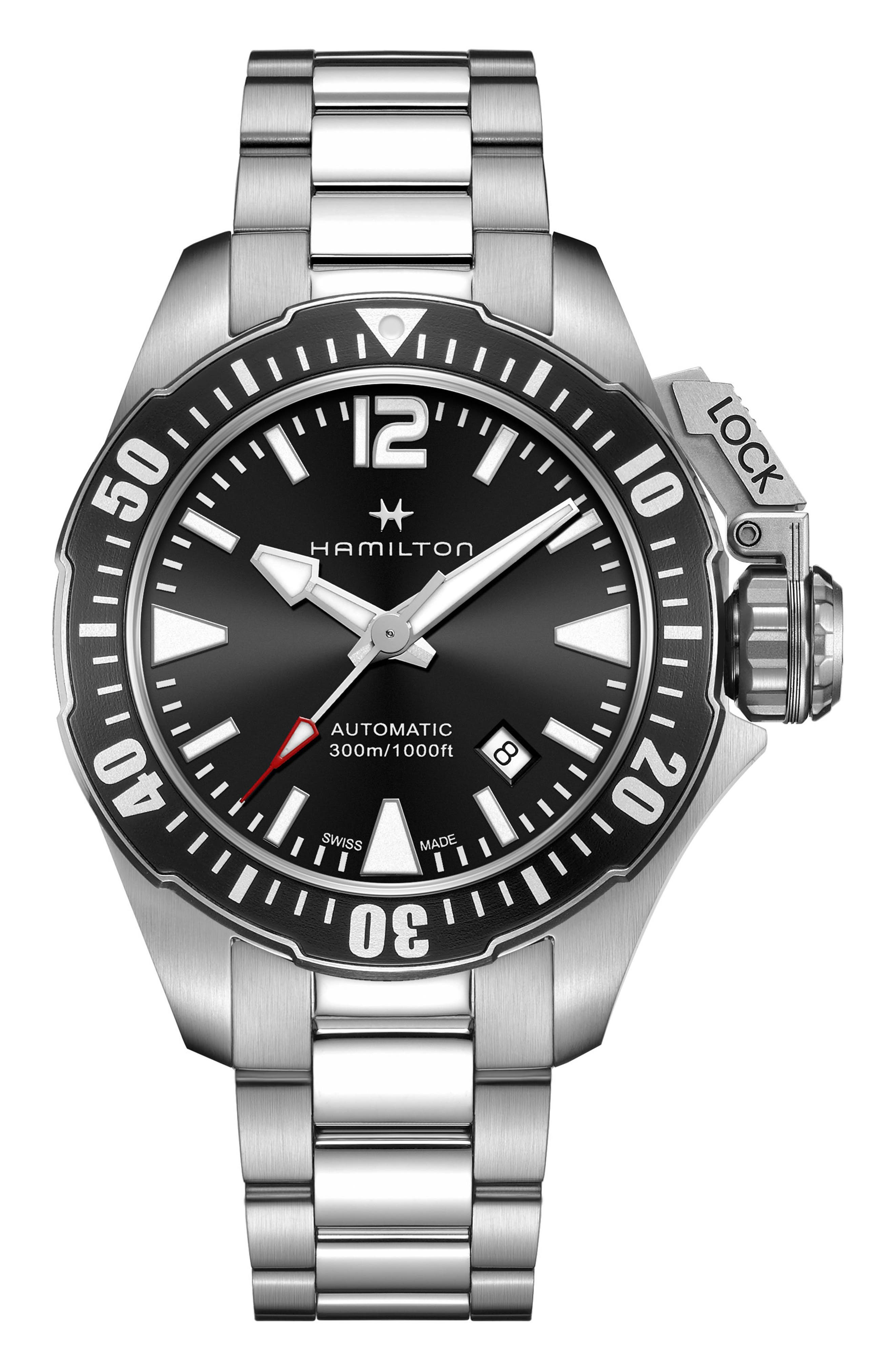 Khaki Navy Frogman Automatic Bracelet Watch, 42mm,                             Main thumbnail 1, color,                             Silver/ Black/ Silver