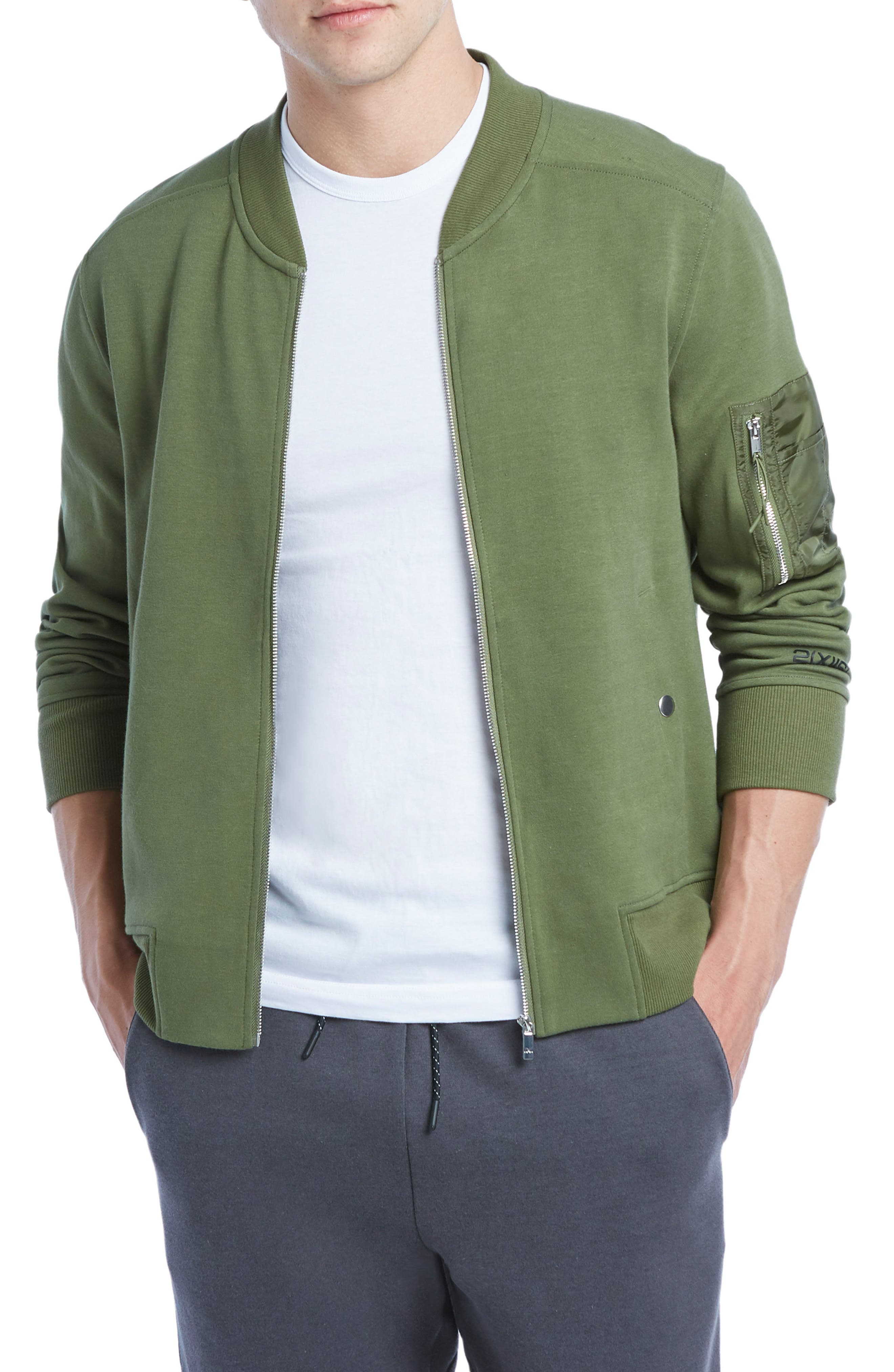Military Sport Bomber Jacket,                         Main,                         color, Olive