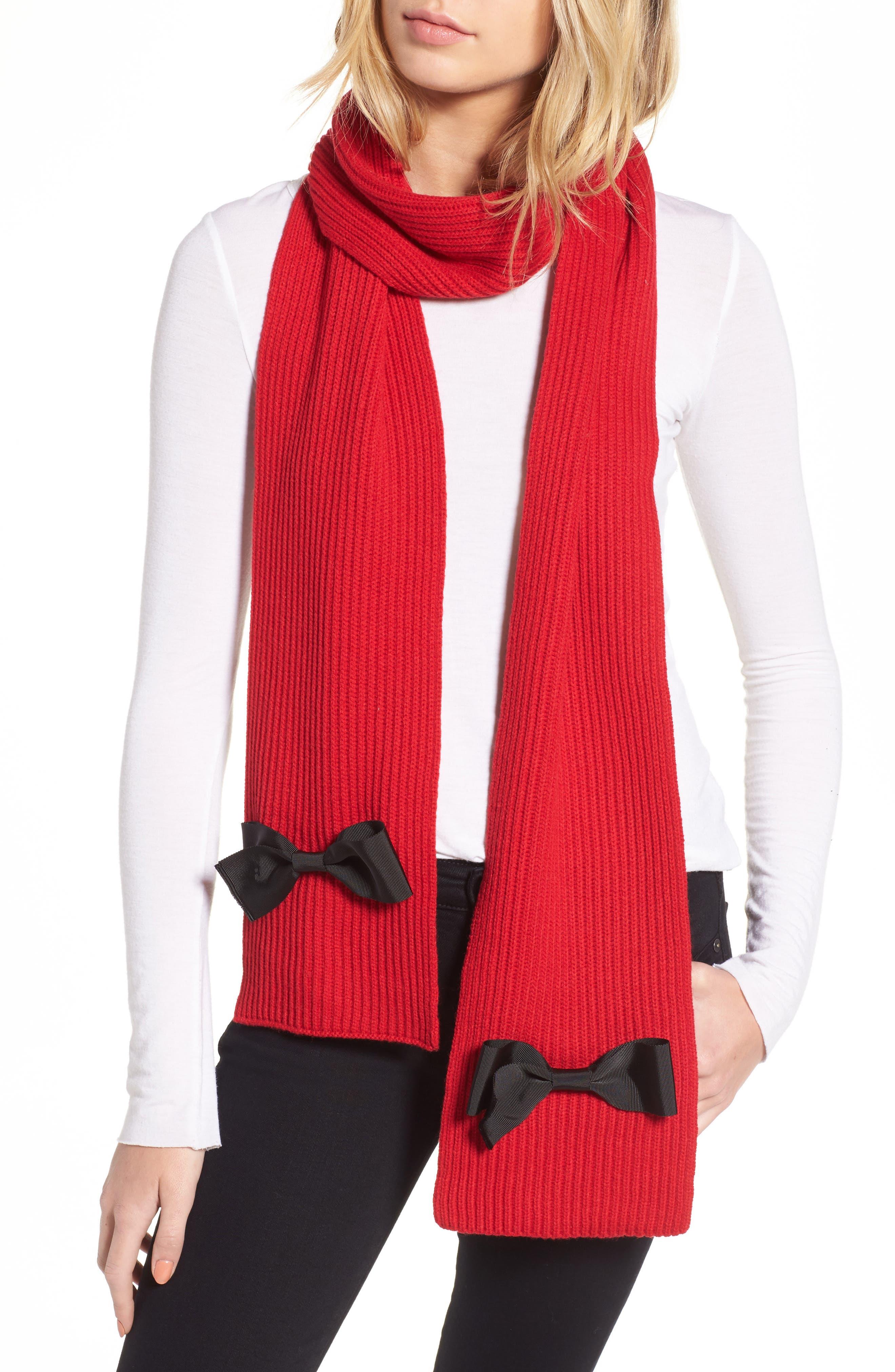 kate spade new york grosgrain bow muffler scarf